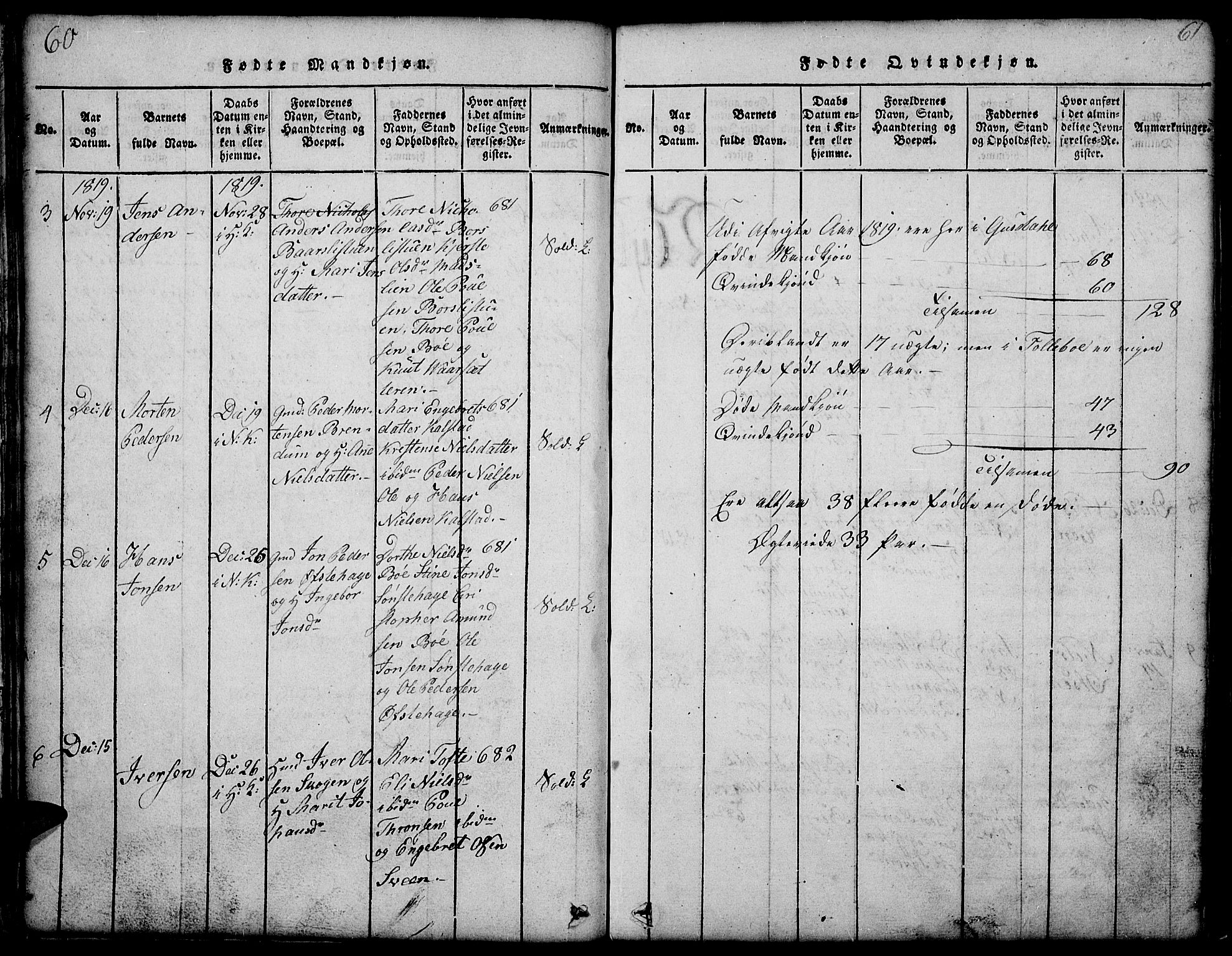 SAH, Gausdal prestekontor, Klokkerbok nr. 1, 1817-1848, s. 60-61
