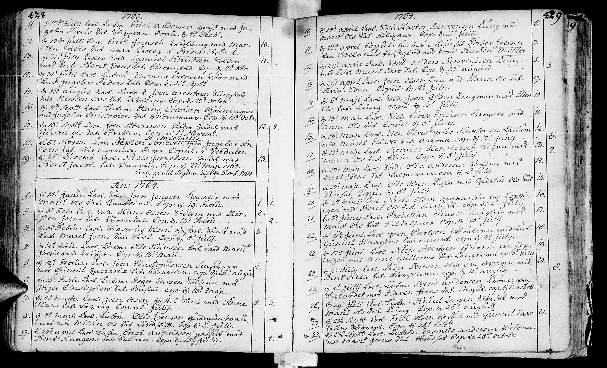 SAT, Ministerialprotokoller, klokkerbøker og fødselsregistre - Sør-Trøndelag, 646/L0605: Ministerialbok nr. 646A03, 1751-1790, s. 428-429