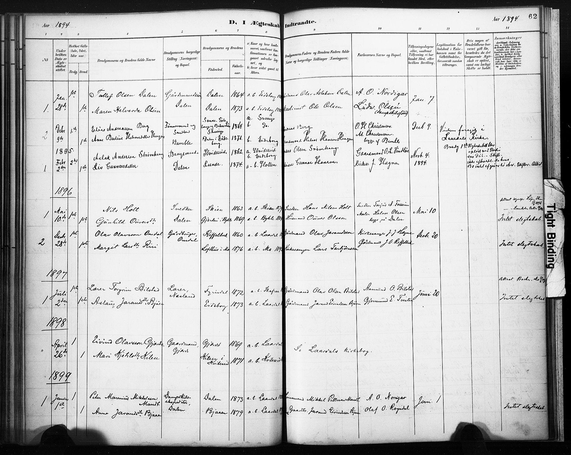 SAKO, Lårdal kirkebøker, F/Fb/L0002: Ministerialbok nr. II 2, 1887-1918, s. 62