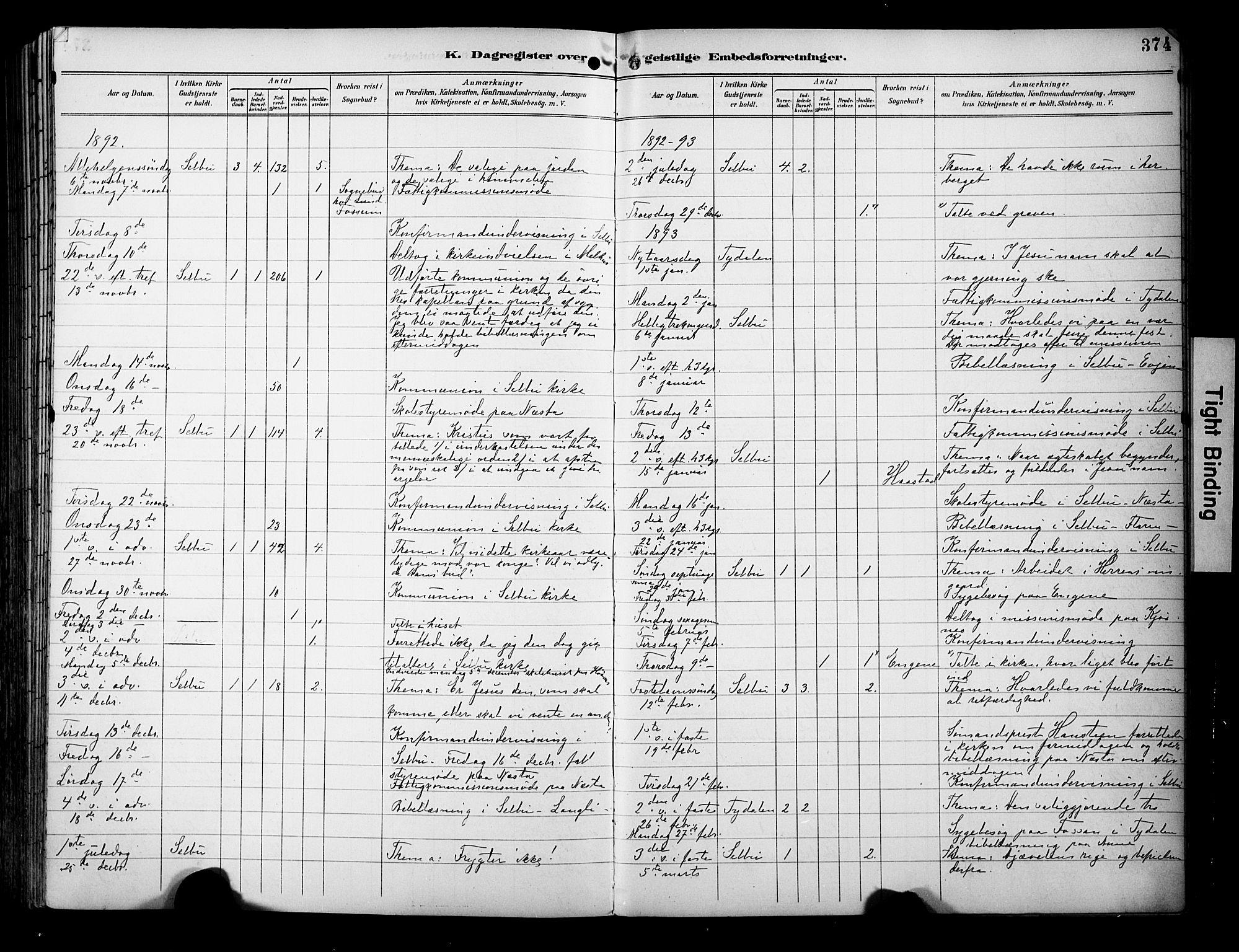 SAT, Ministerialprotokoller, klokkerbøker og fødselsregistre - Sør-Trøndelag, 695/L1149: Ministerialbok nr. 695A09, 1891-1902, s. 374