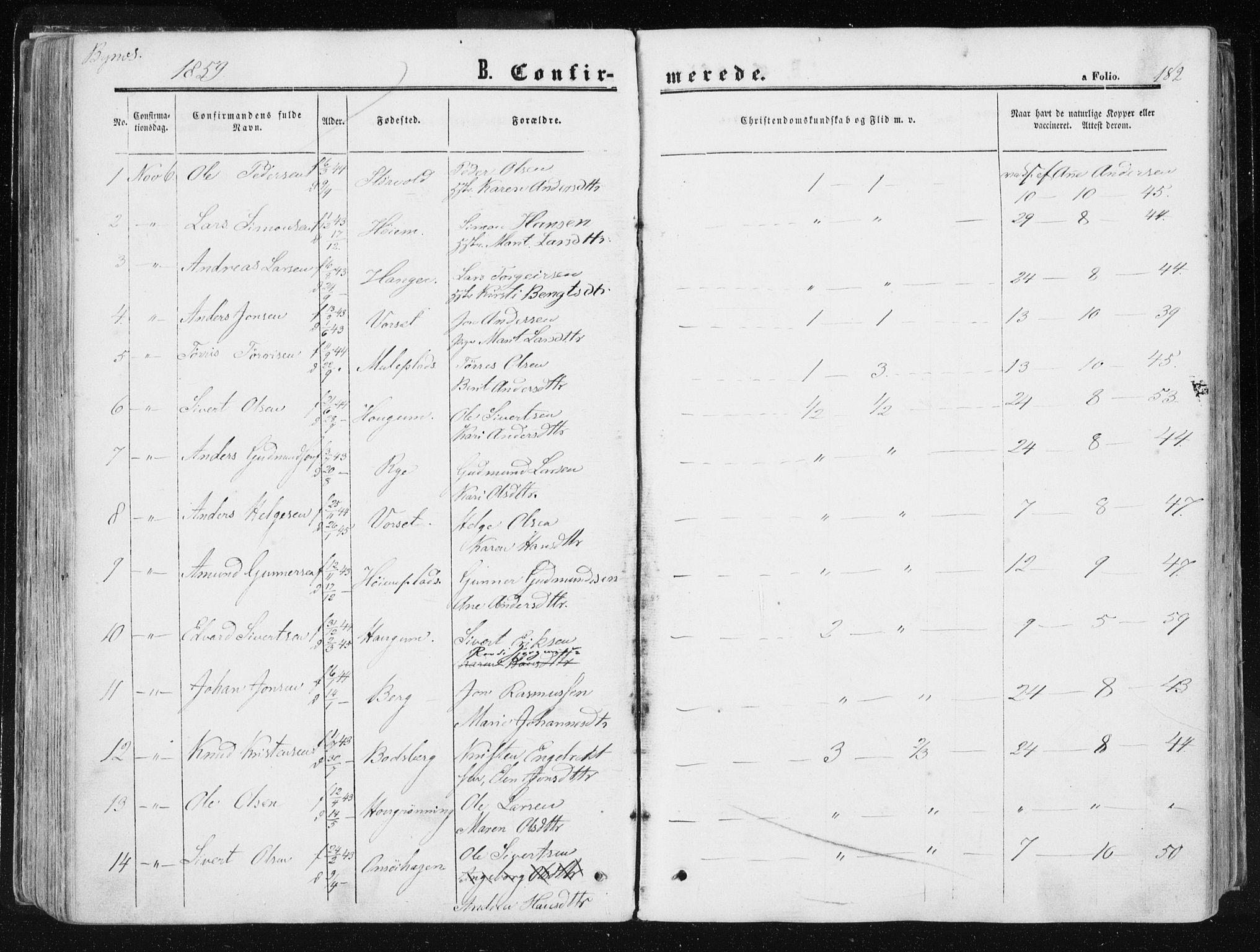 SAT, Ministerialprotokoller, klokkerbøker og fødselsregistre - Sør-Trøndelag, 612/L0377: Ministerialbok nr. 612A09, 1859-1877, s. 182