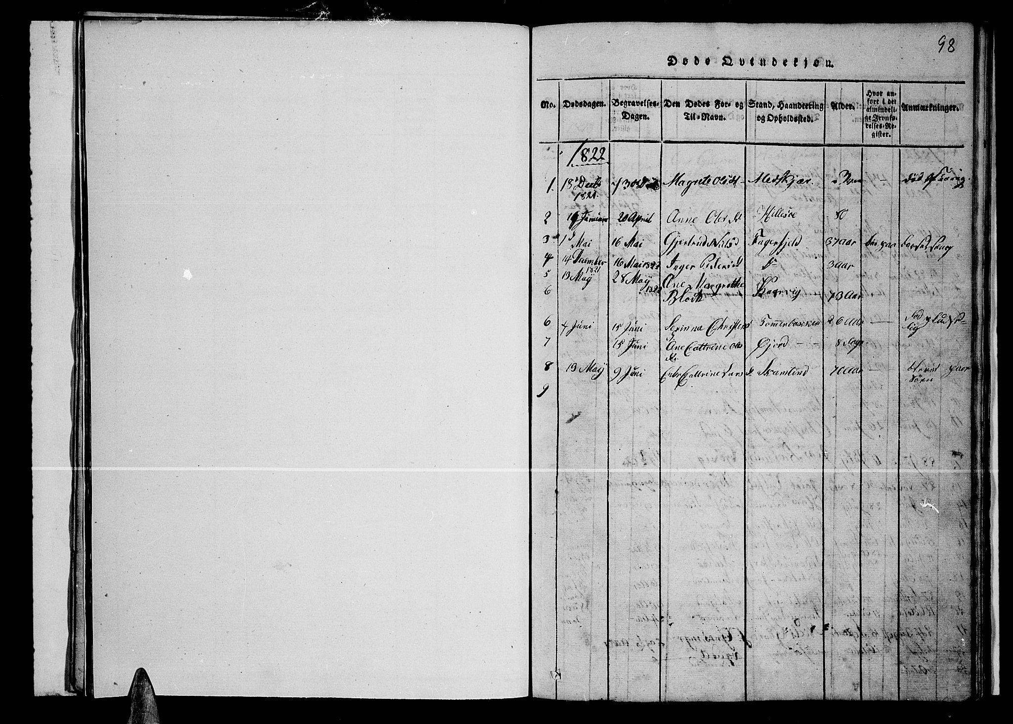 SATØ, Lenvik sokneprestembete, H/Ha: Klokkerbok nr. 1, 1822-1837, s. 98