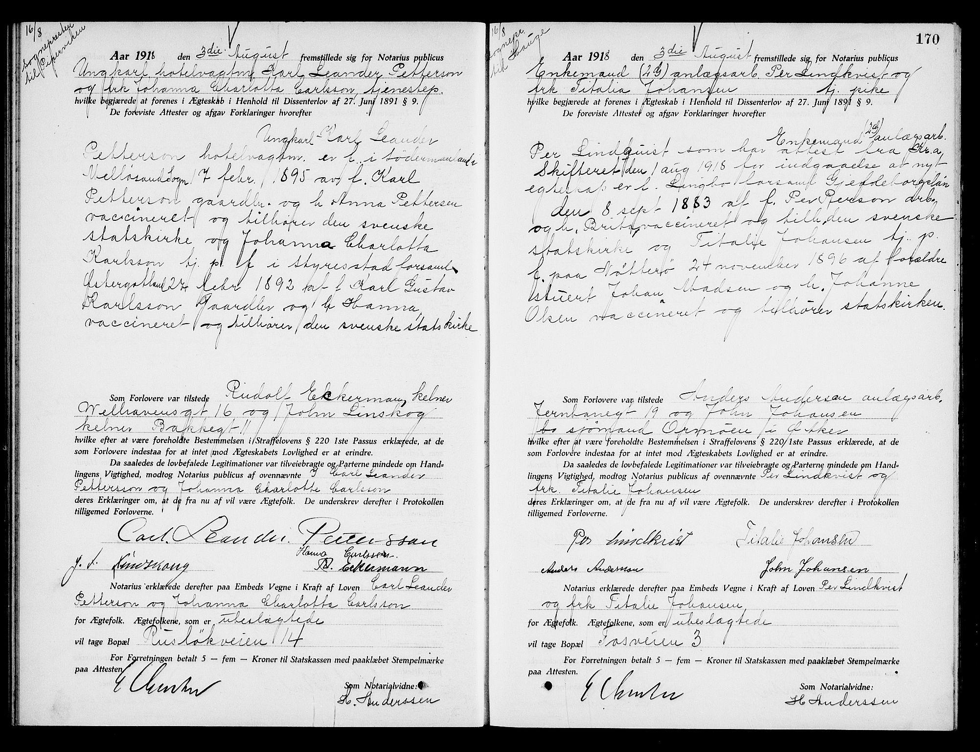 SAO, Oslo byfogd avd. I, L/Lb/Lbb/L0012: Notarialprotokoll, rekke II: Vigsler, 1918-1919, s. 169b-170a