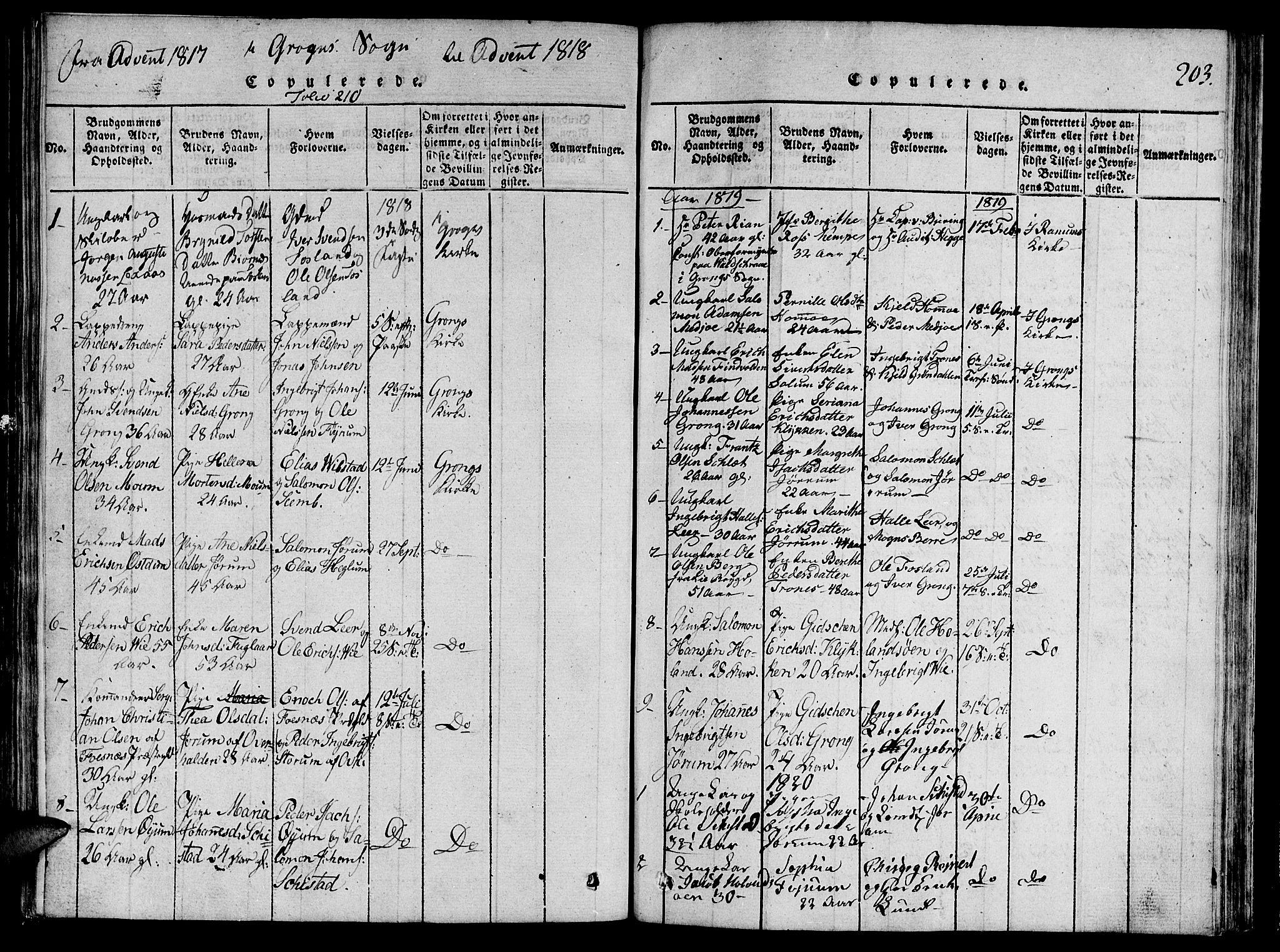 SAT, Ministerialprotokoller, klokkerbøker og fødselsregistre - Nord-Trøndelag, 764/L0546: Ministerialbok nr. 764A06 /2, 1817-1822, s. 203