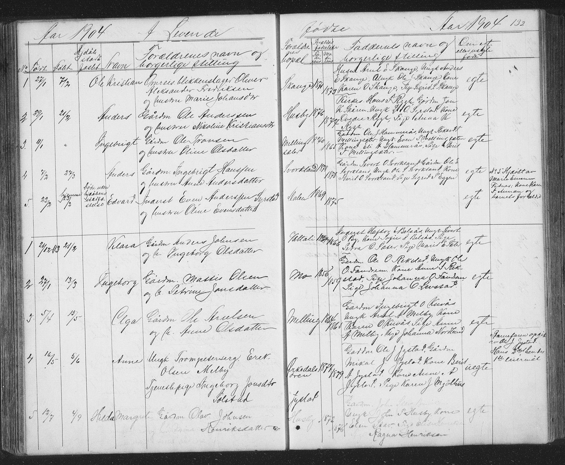 SAT, Ministerialprotokoller, klokkerbøker og fødselsregistre - Sør-Trøndelag, 667/L0798: Klokkerbok nr. 667C03, 1867-1929, s. 132