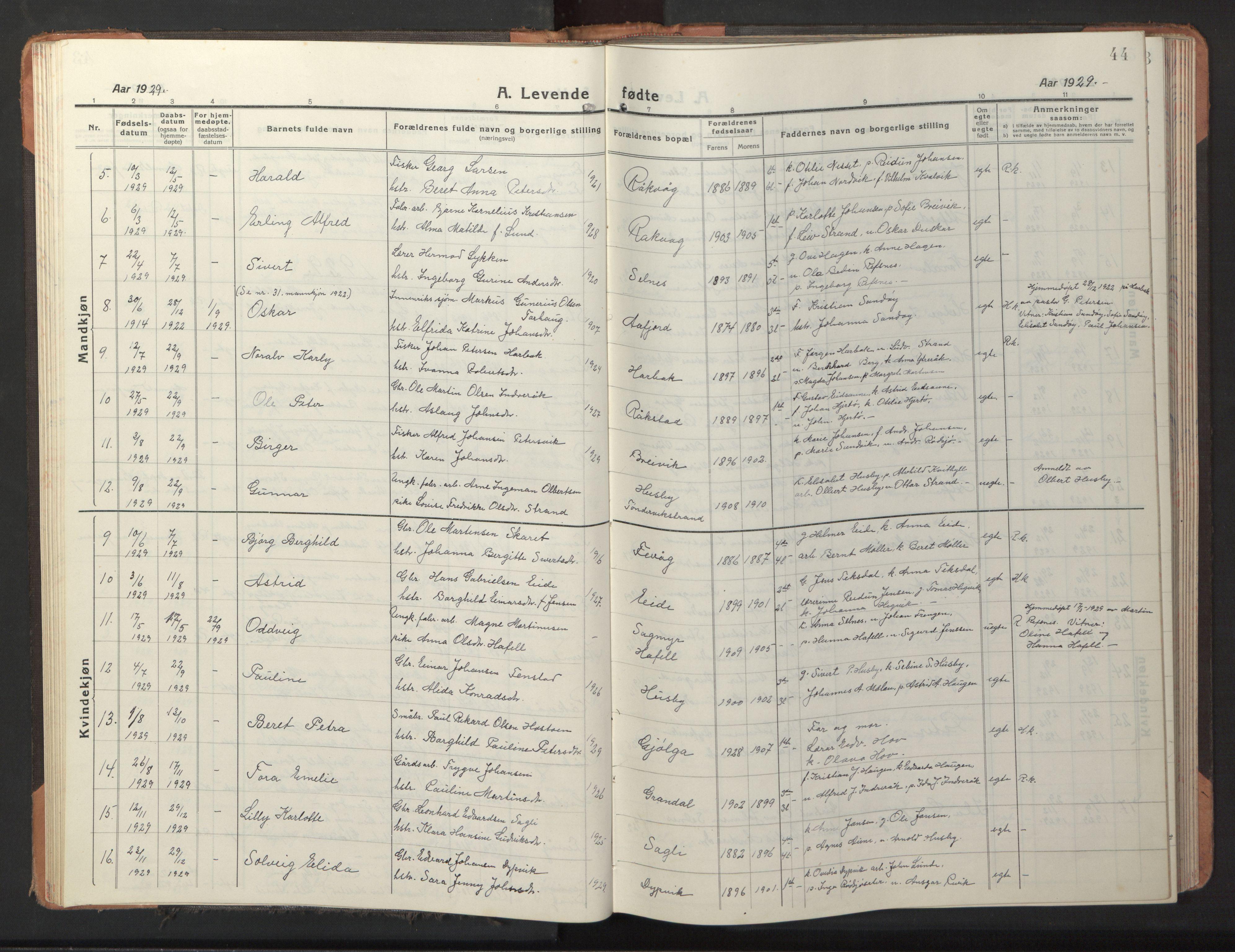 SAT, Ministerialprotokoller, klokkerbøker og fødselsregistre - Sør-Trøndelag, 653/L0658: Klokkerbok nr. 653C02, 1919-1947, s. 44