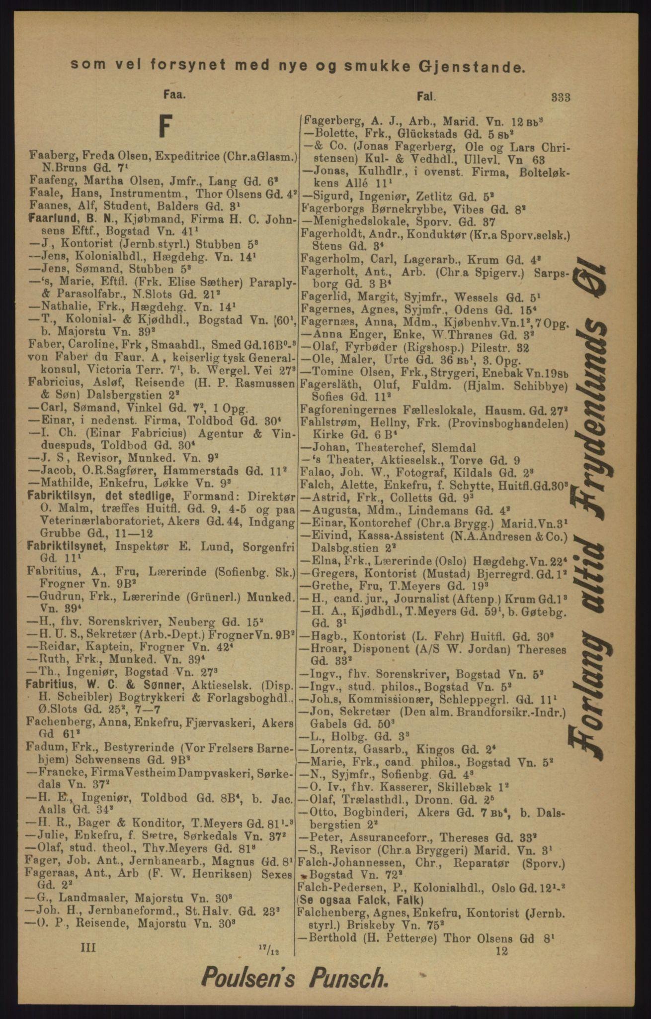 RA, Kristiania adressebok (publikasjon)*, 1905, s. 333