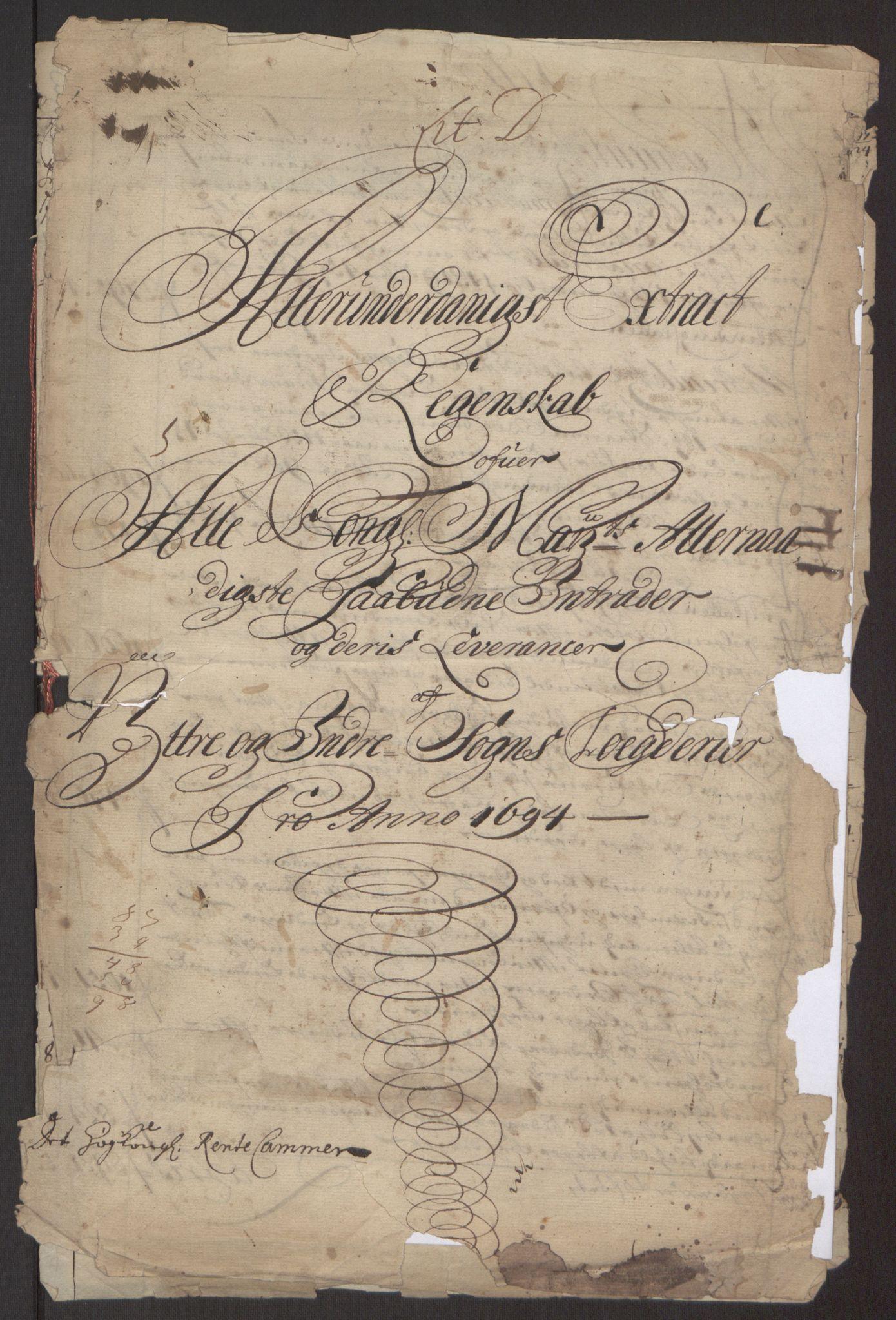 RA, Rentekammeret inntil 1814, Reviderte regnskaper, Fogderegnskap, R52/L3307: Fogderegnskap Sogn, 1693-1694, s. 265