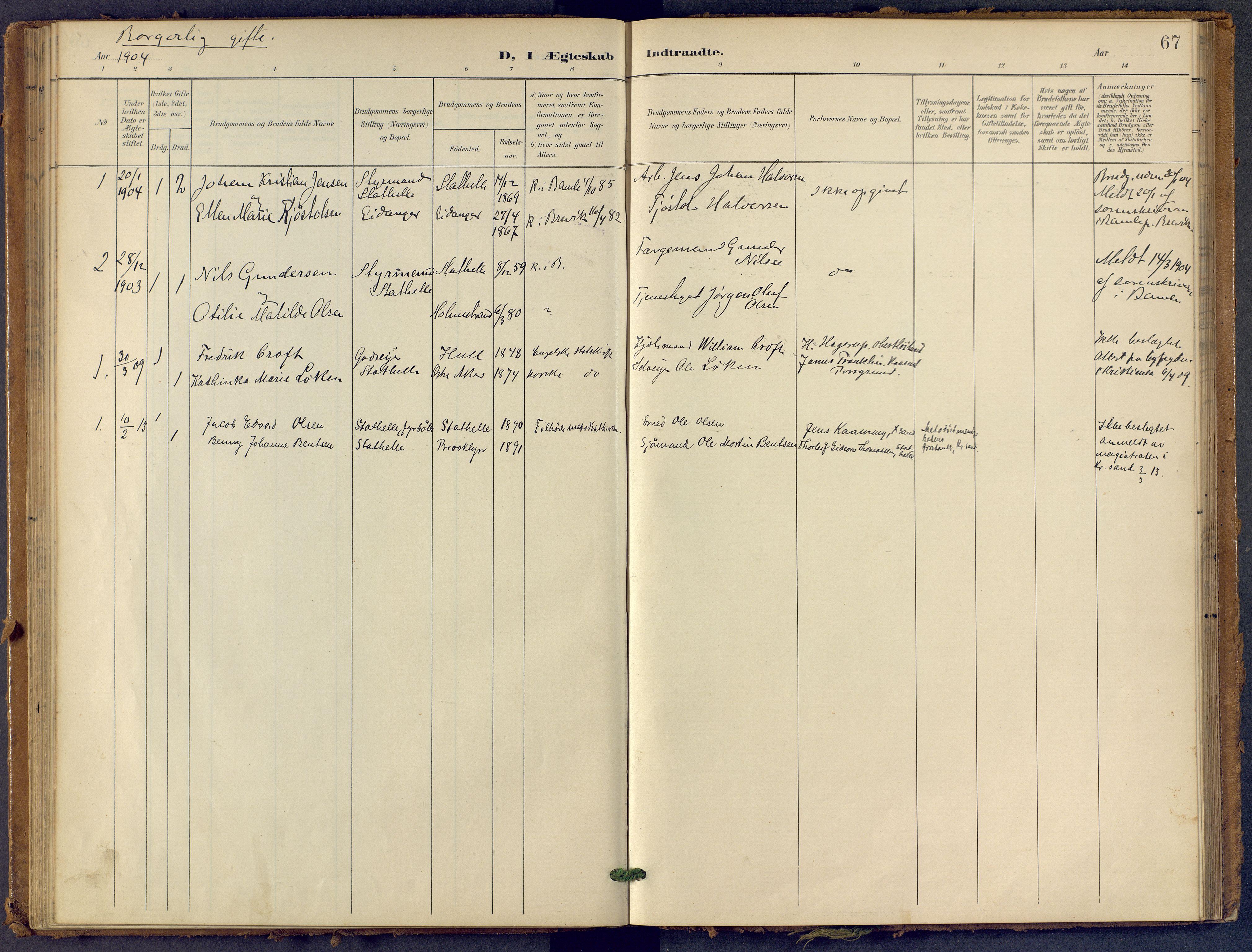 SAKO, Bamble kirkebøker, F/Fb/L0002: Ministerialbok nr. II 2, 1900-1921, s. 67