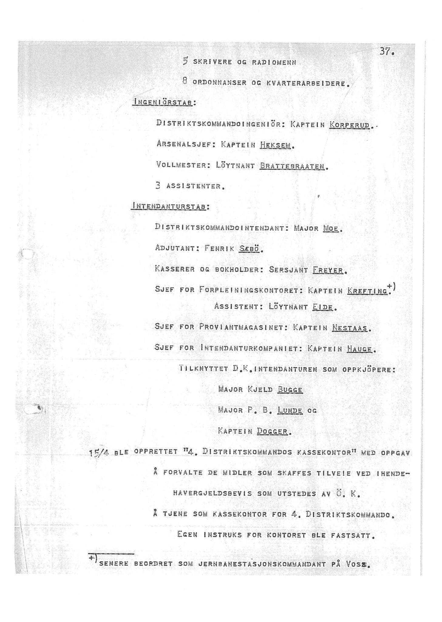 """SAB, Oberst Sverre Blom - manuskript til krigshistorie, F/L0001: Manuskript """"Krigens historie - operasjonene til lands på Vestlandet 1940"""" av oberst Sverre Blom, 1940, s. 37"""