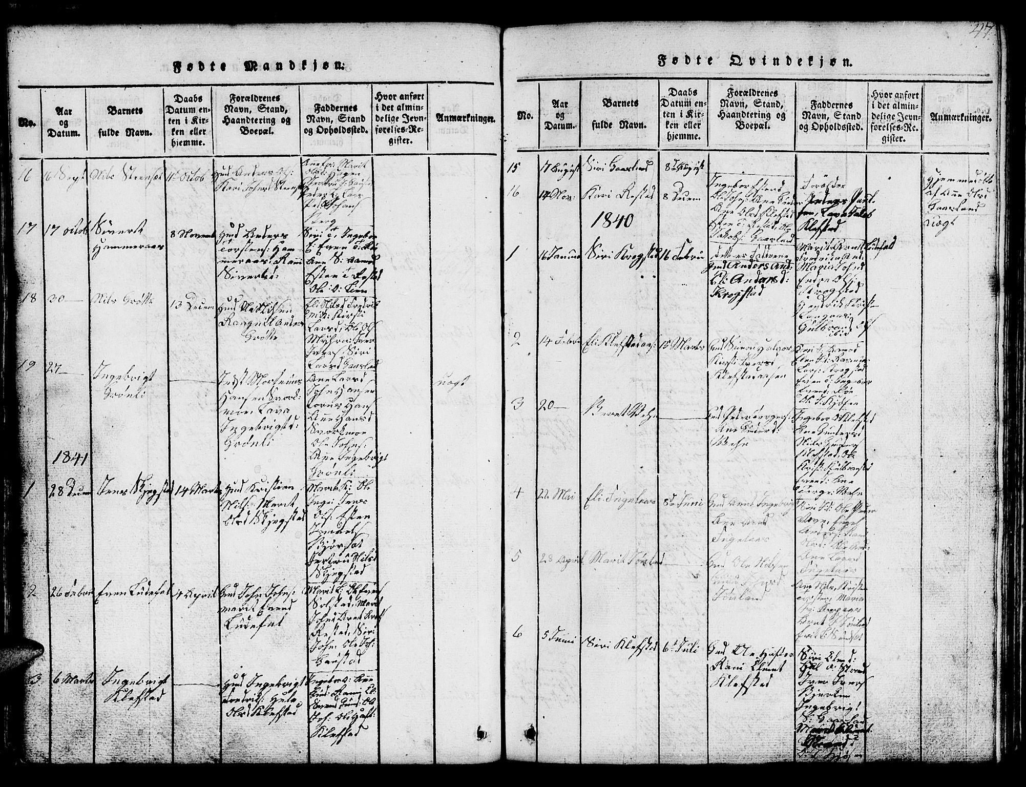 SAT, Ministerialprotokoller, klokkerbøker og fødselsregistre - Sør-Trøndelag, 694/L1130: Klokkerbok nr. 694C02, 1816-1857, s. 47