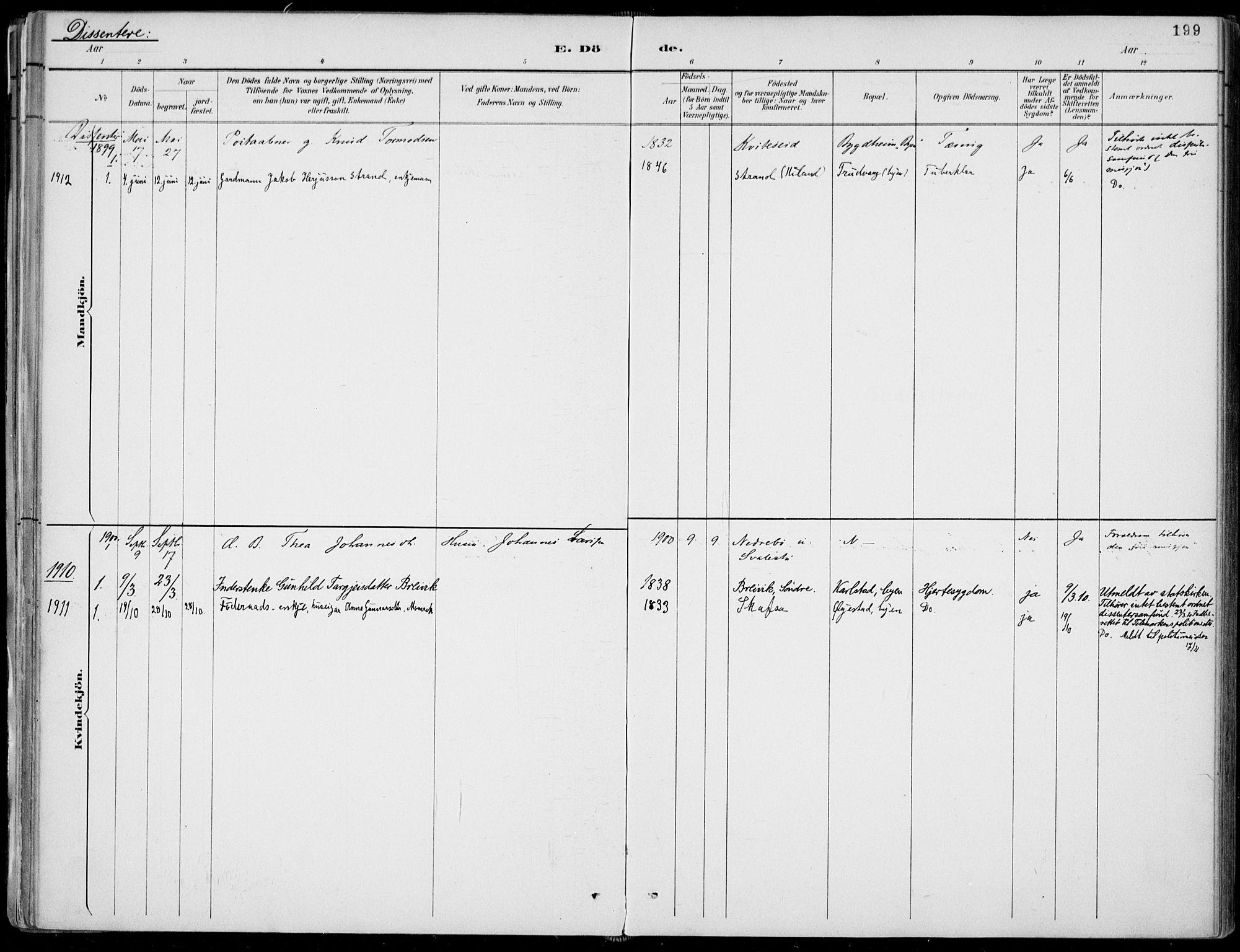 SAKO, Fyresdal kirkebøker, F/Fa/L0007: Ministerialbok nr. I 7, 1887-1914, s. 199