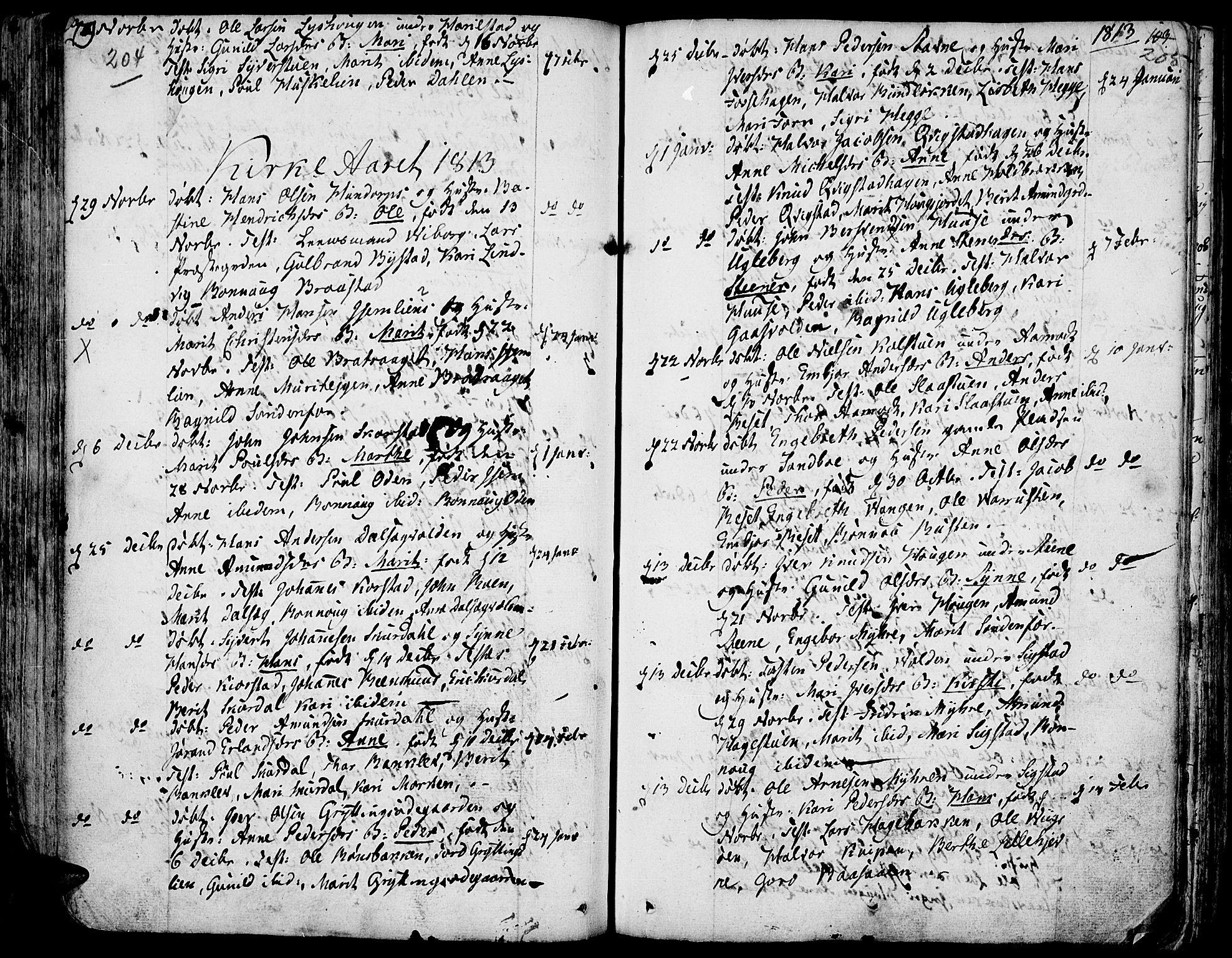 SAH, Fron prestekontor, H/Ha/Haa/L0001: Ministerialbok nr. 1, 1799-1816, s. 204-205