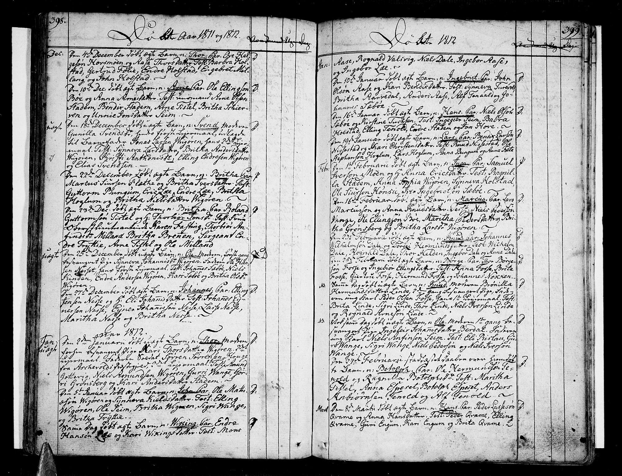 SAB, Vik Sokneprestembete, Ministerialbok nr. A 5, 1787-1820, s. 398-399