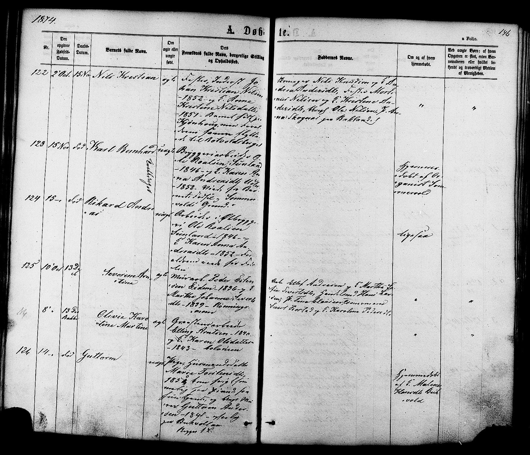 SAT, Ministerialprotokoller, klokkerbøker og fødselsregistre - Sør-Trøndelag, 606/L0293: Ministerialbok nr. 606A08, 1866-1877, s. 146