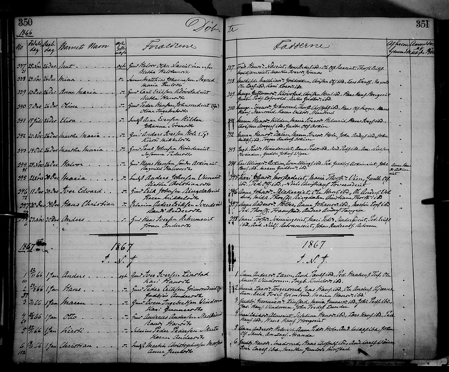 SAH, Gran prestekontor, Ministerialbok nr. 12, 1856-1874, s. 350-351