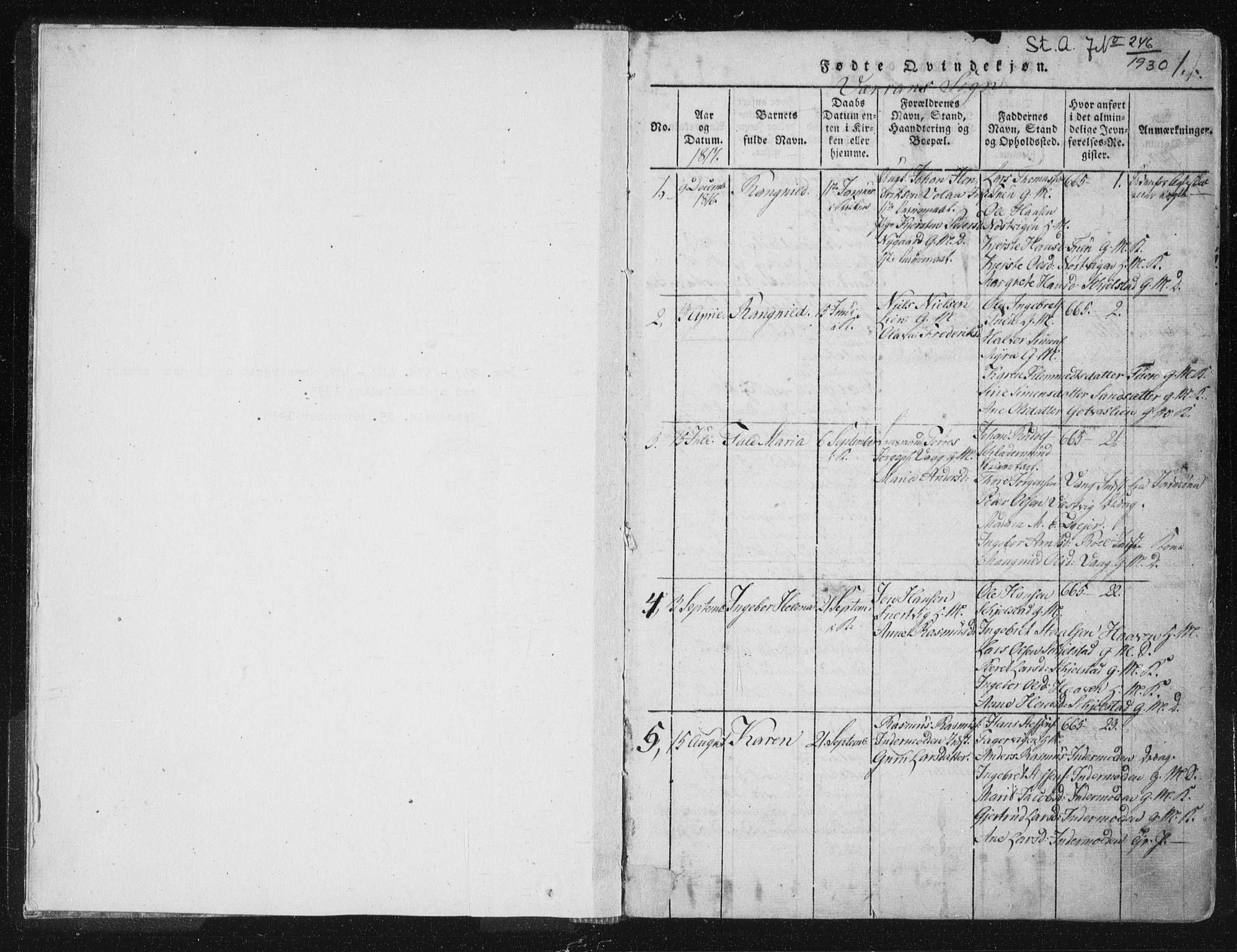 SAT, Ministerialprotokoller, klokkerbøker og fødselsregistre - Nord-Trøndelag, 744/L0417: Ministerialbok nr. 744A01, 1817-1842, s. 0-1