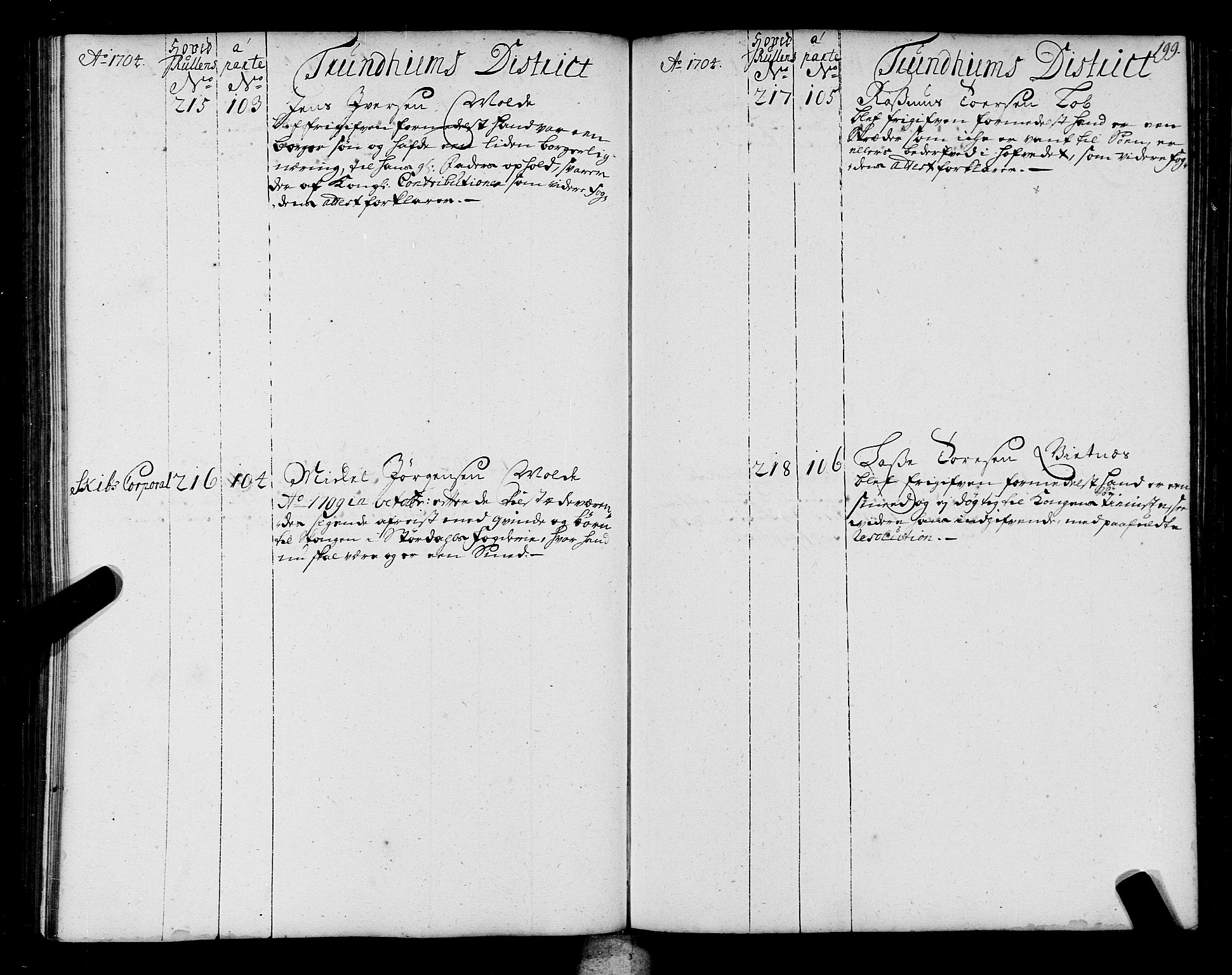 SAT, Sjøinnrulleringen - Trondhjemske distrikt, 01/L0004: Ruller over sjøfolk i Trondhjem by, 1704-1710, s. 199