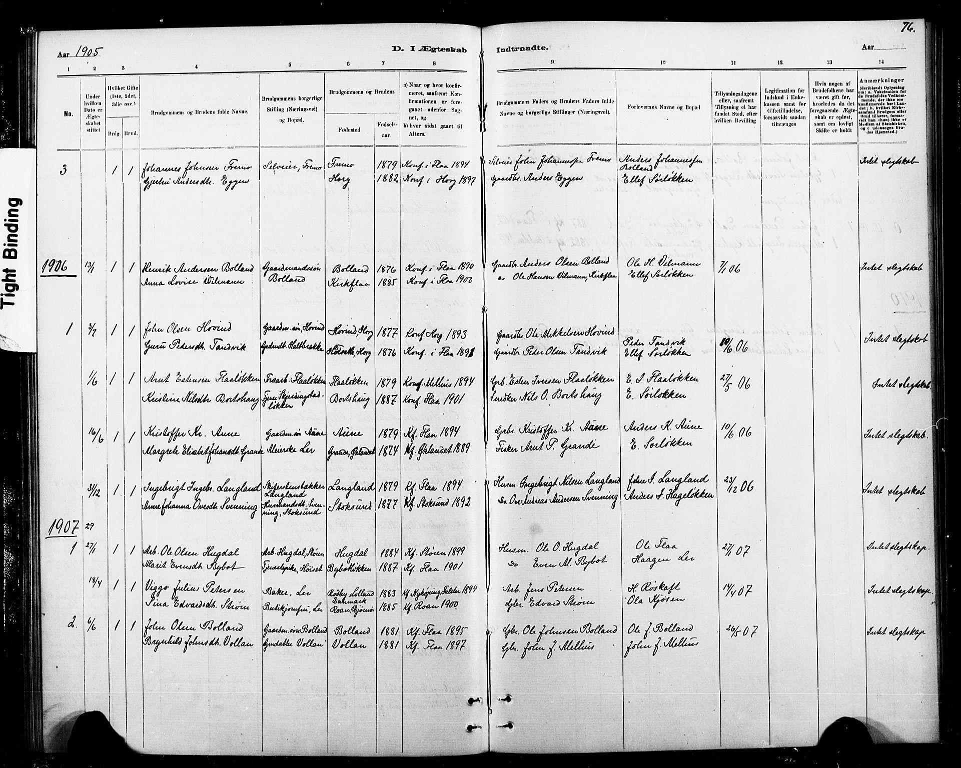 SAT, Ministerialprotokoller, klokkerbøker og fødselsregistre - Sør-Trøndelag, 693/L1123: Klokkerbok nr. 693C04, 1887-1910, s. 76