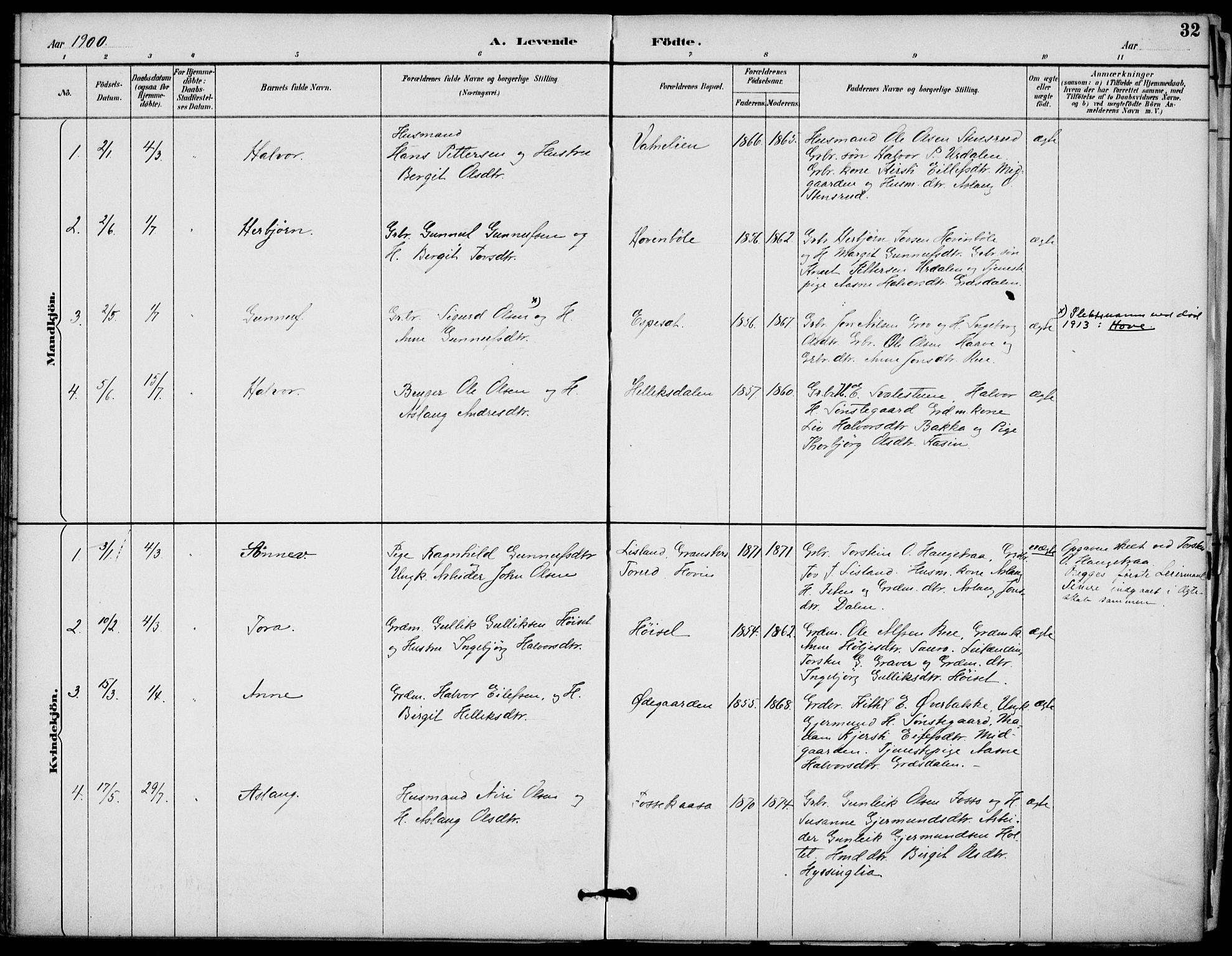 SAKO, Gransherad kirkebøker, F/Fb/L0005: Ministerialbok nr. II 5, 1887-1916, s. 32