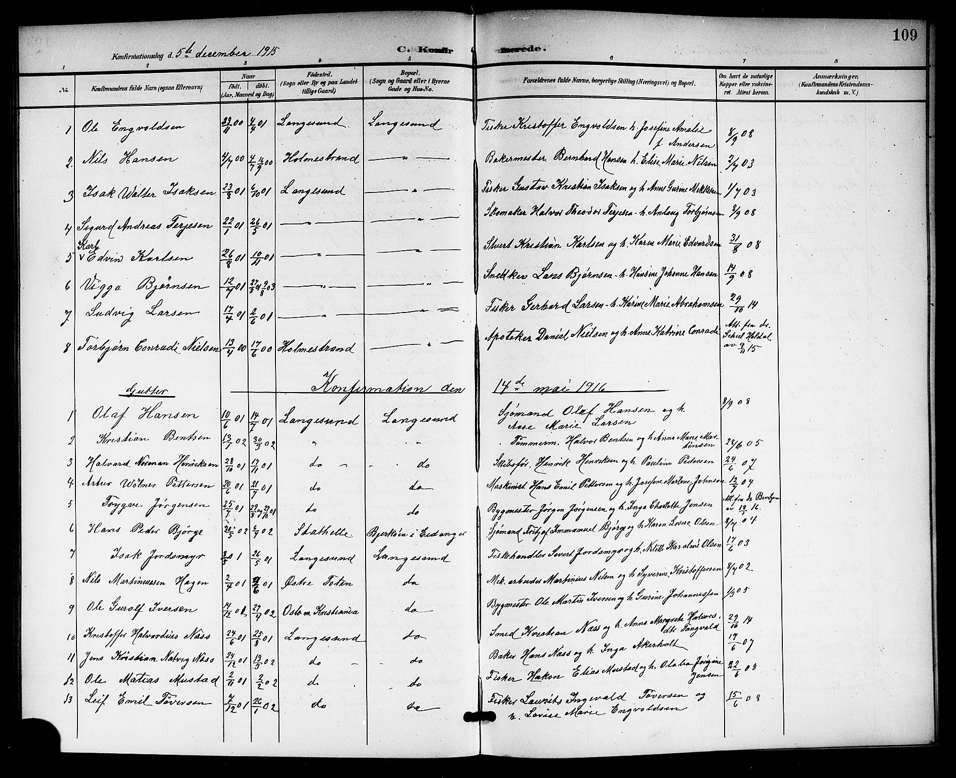 SAKO, Langesund kirkebøker, G/Ga/L0006: Klokkerbok nr. 6, 1899-1918, s. 109