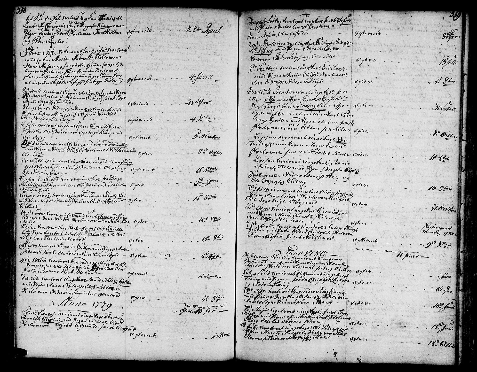 SAT, Ministerialprotokoller, klokkerbøker og fødselsregistre - Nord-Trøndelag, 746/L0440: Ministerialbok nr. 746A02, 1760-1815, s. 358-359
