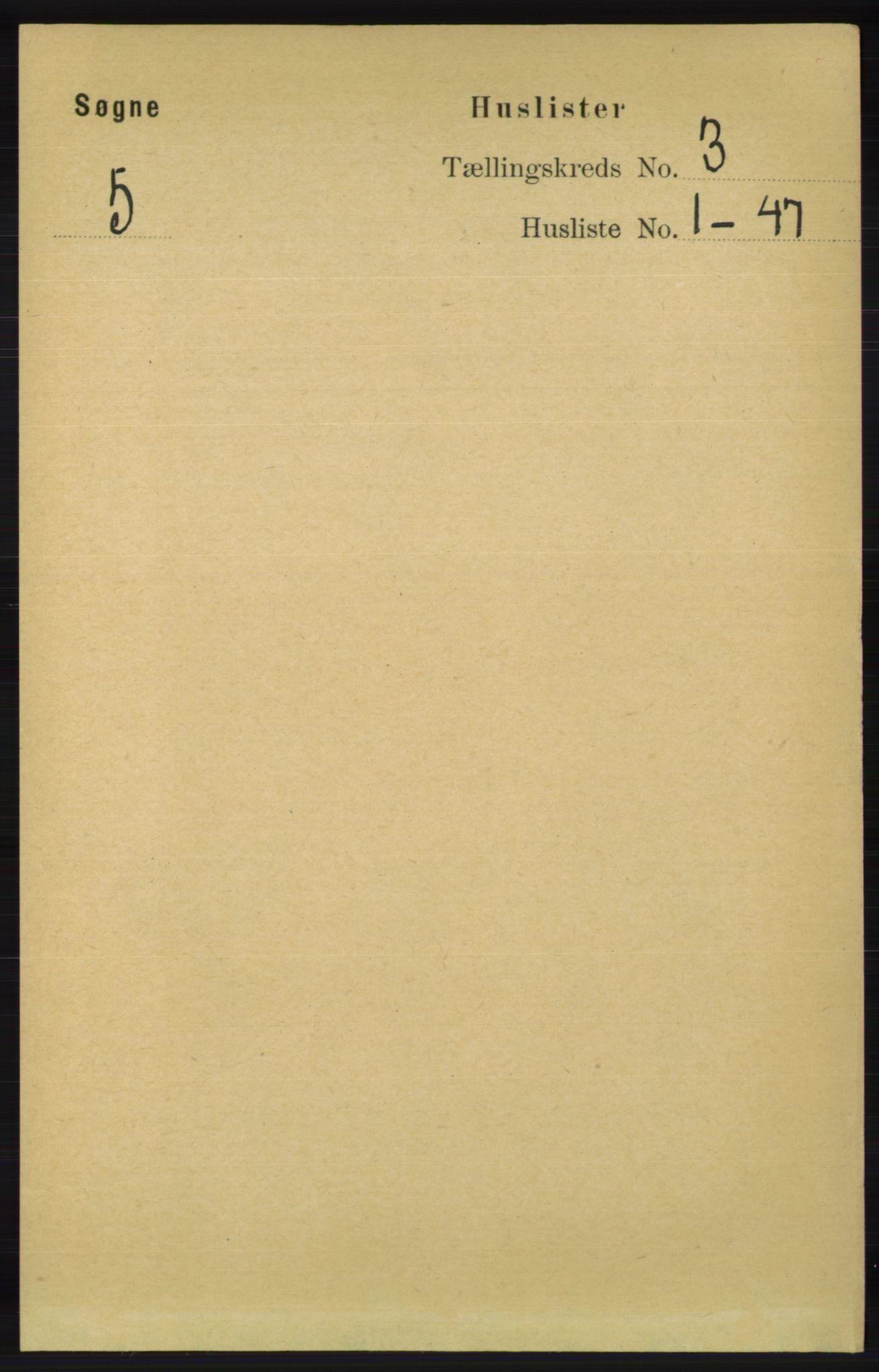 RA, Folketelling 1891 for 1018 Søgne herred, 1891, s. 265