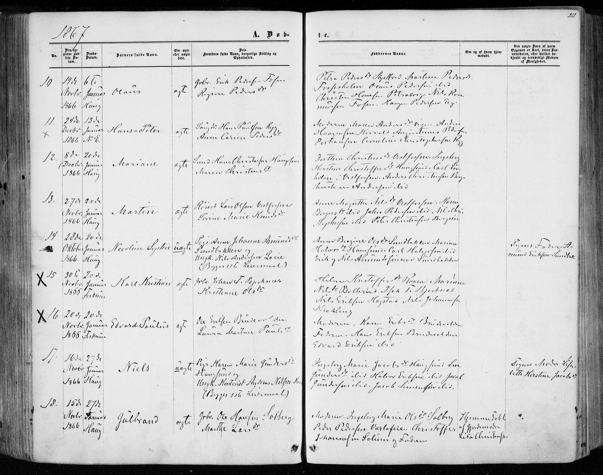 SAKO, Eiker kirkebøker, F/Fa/L0016: Ministerialbok nr. 16, 1860-1868, s. 212