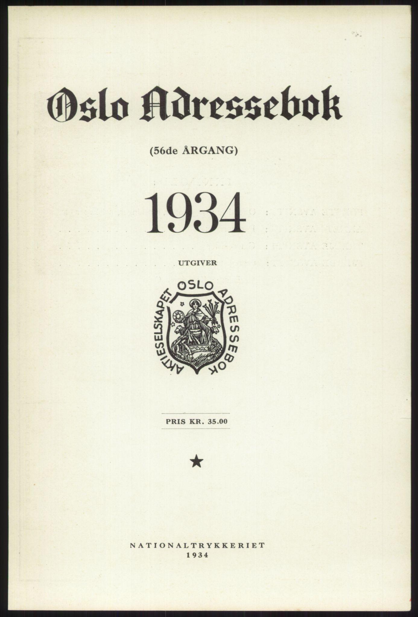 RA, Oslo adressebok (publikasjon)*, 1934, s. upaginert