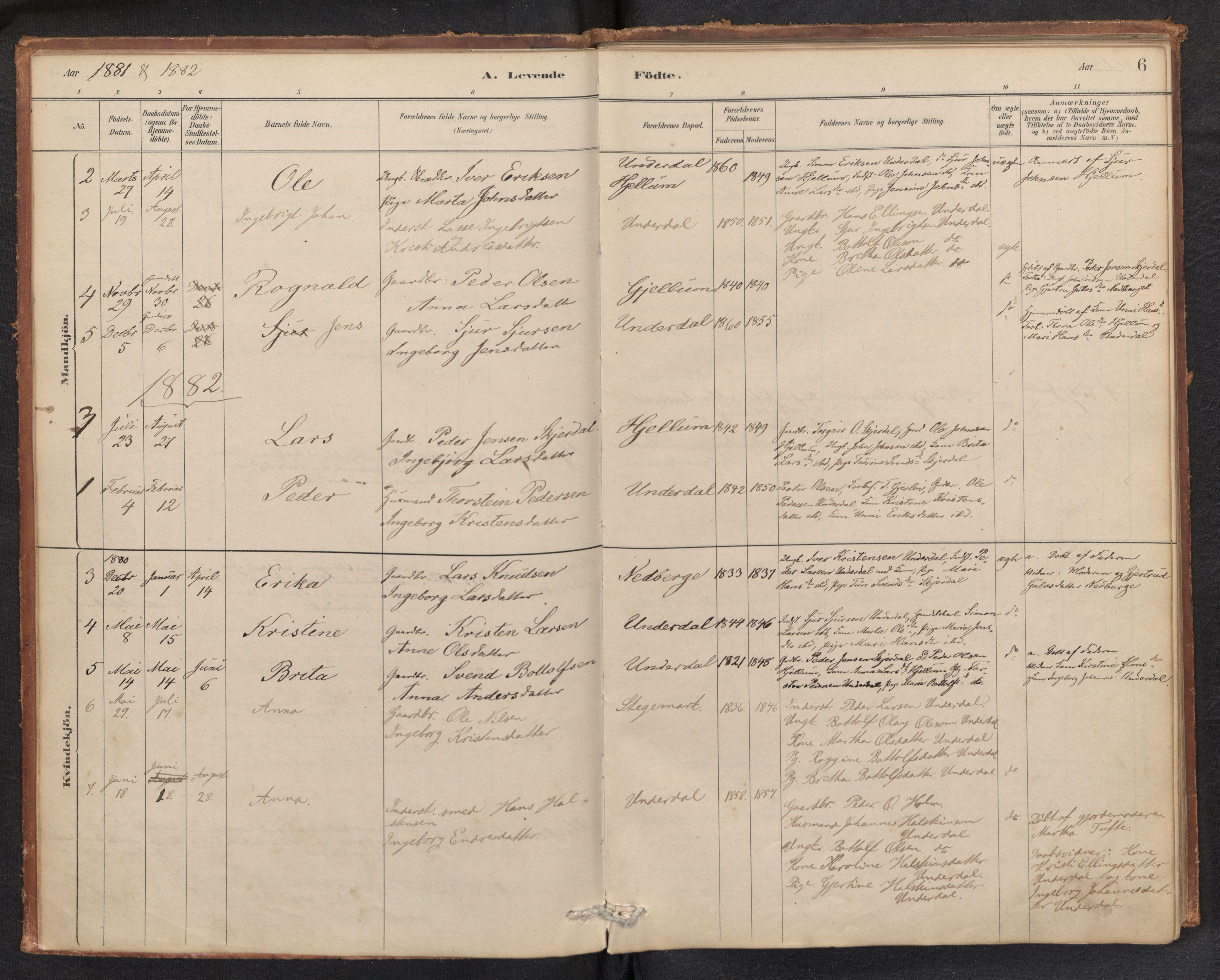 SAB, Aurland Sokneprestembete*, Ministerialbok nr. E 1, 1880-1907, s. 5b-6a