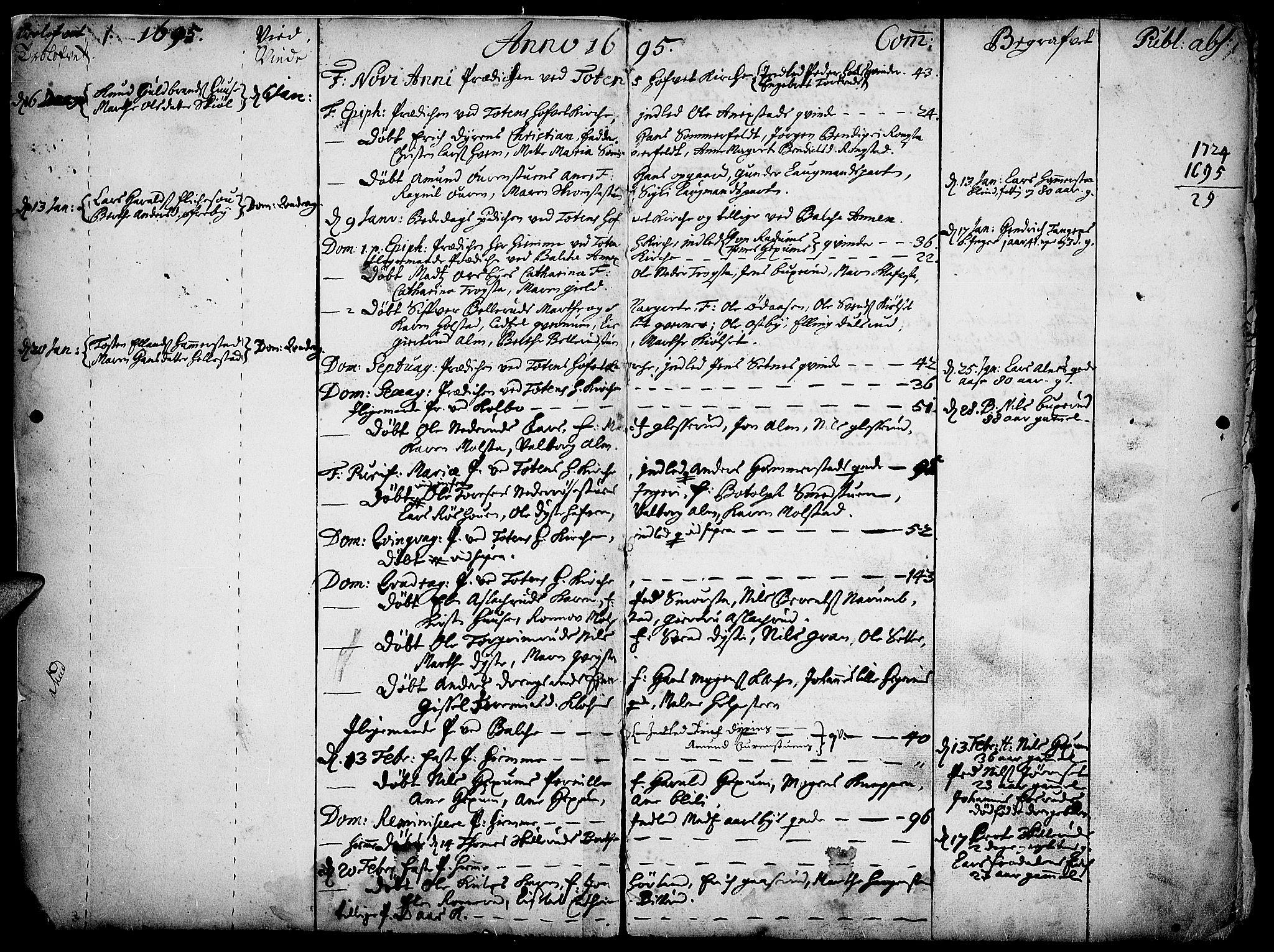 SAH, Toten prestekontor, Ministerialbok nr. 1, 1695-1713, s. 1
