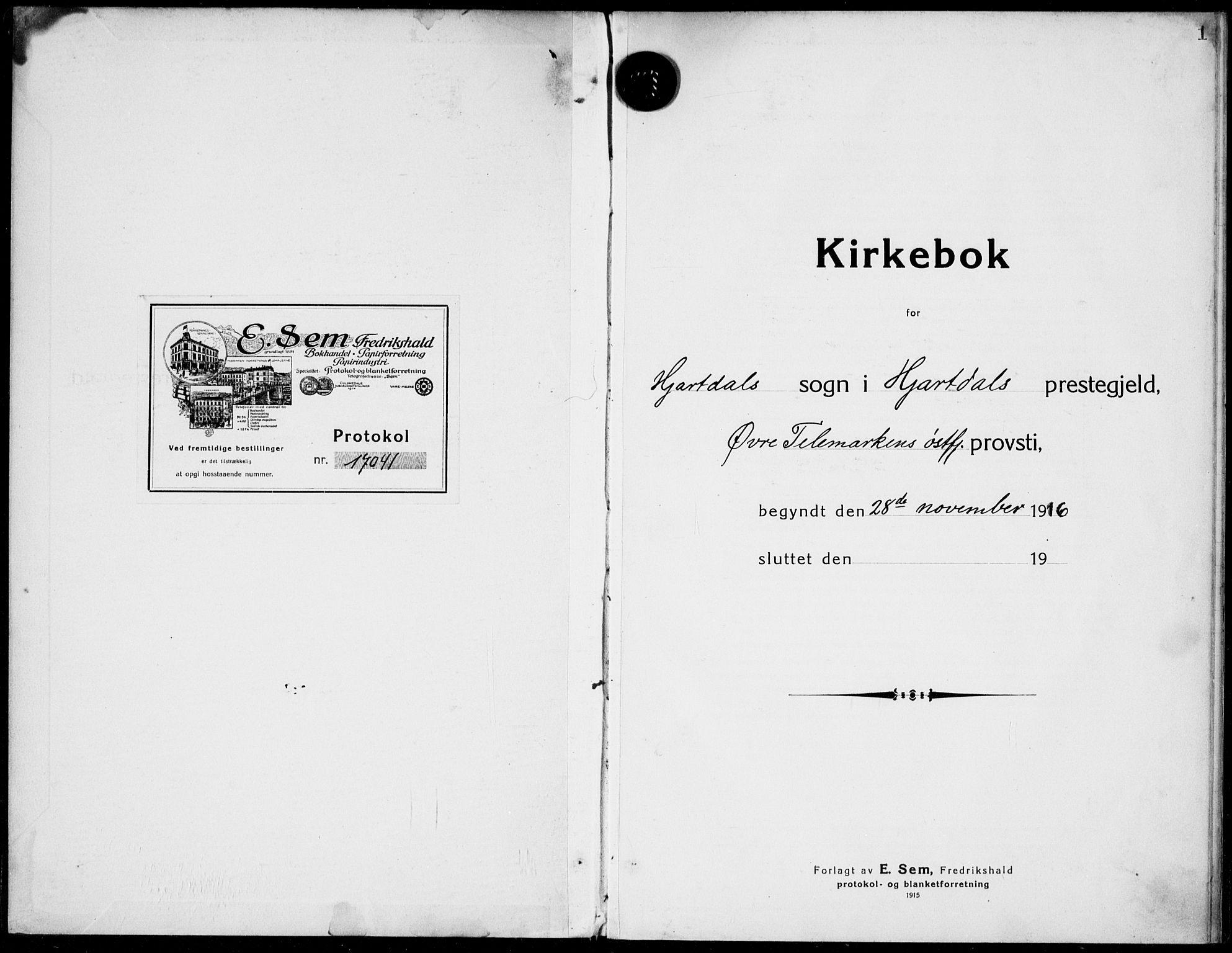 SAKO, Hjartdal kirkebøker, F/Fa/L0011: Ministerialbok nr. I 11, 1916-1929, s. 1