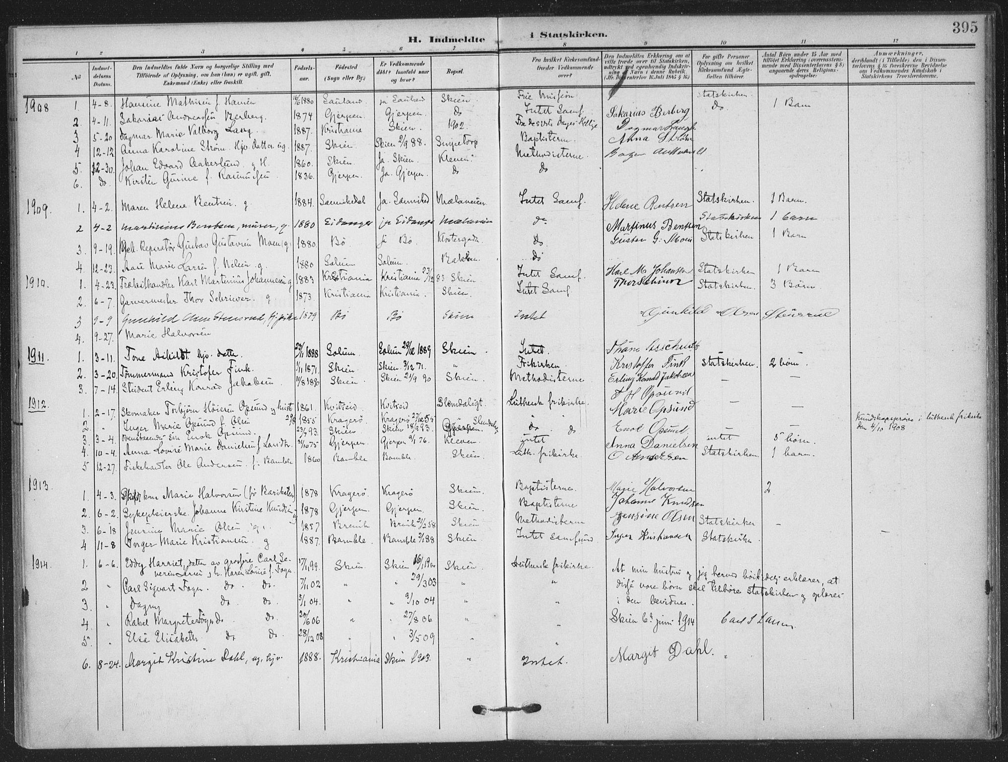 SAKO, Skien kirkebøker, F/Fa/L0012: Ministerialbok nr. 12, 1908-1914, s. 395