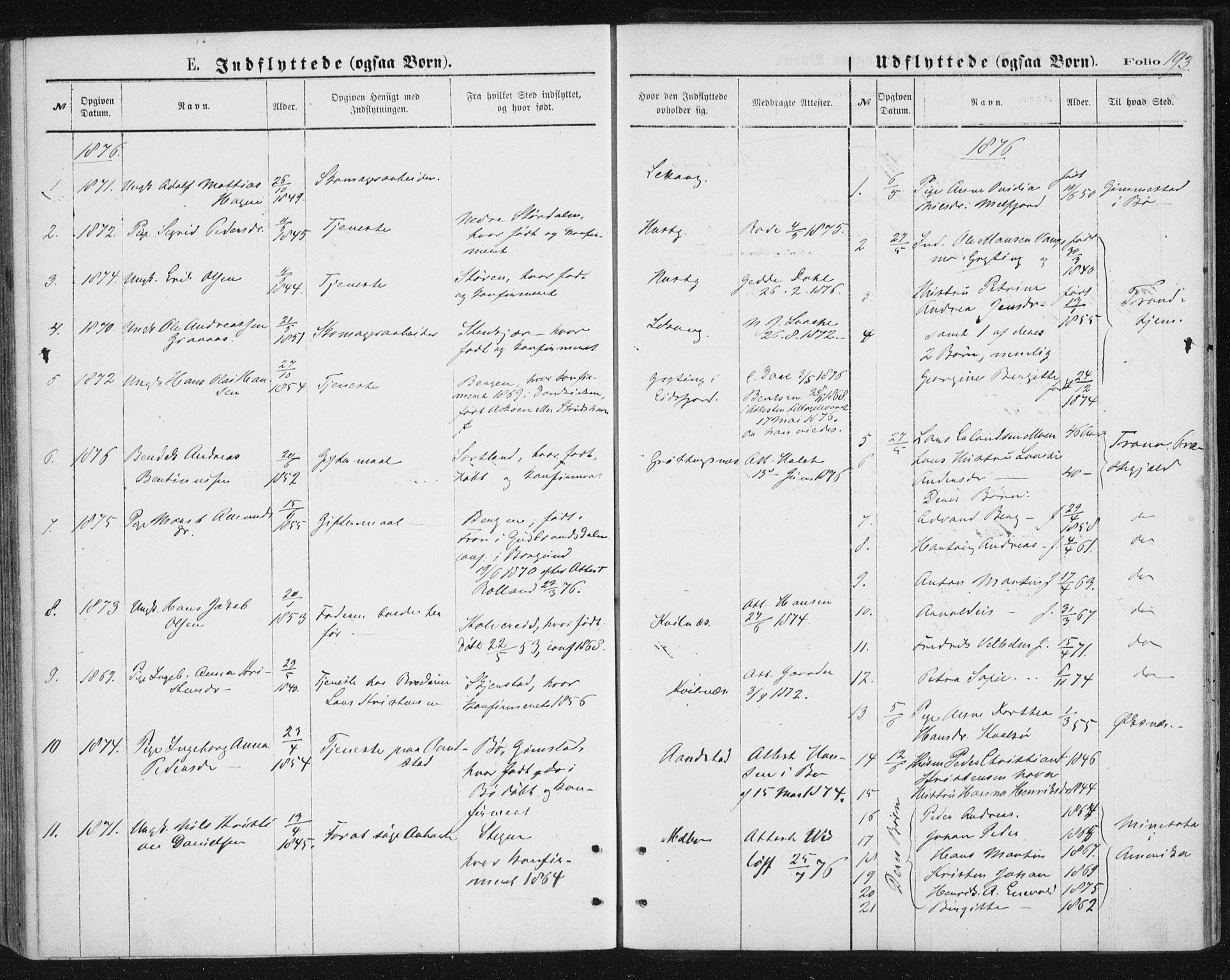 SAT, Ministerialprotokoller, klokkerbøker og fødselsregistre - Nordland, 888/L1243: Ministerialbok nr. 888A09, 1876-1879, s. 193