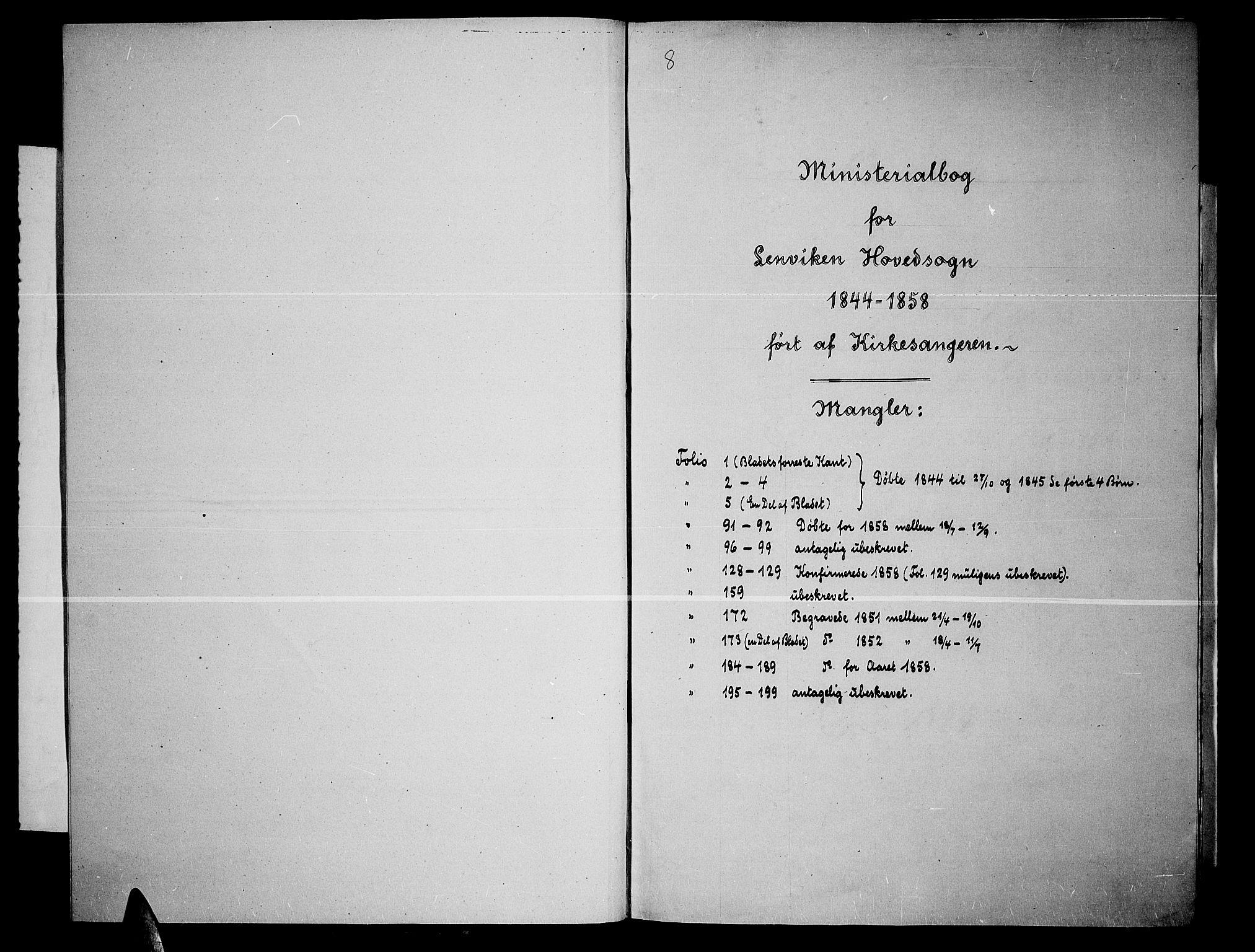 SATØ, Lenvik sokneprestembete, H/Ha: Klokkerbok nr. 3, 1844-1858