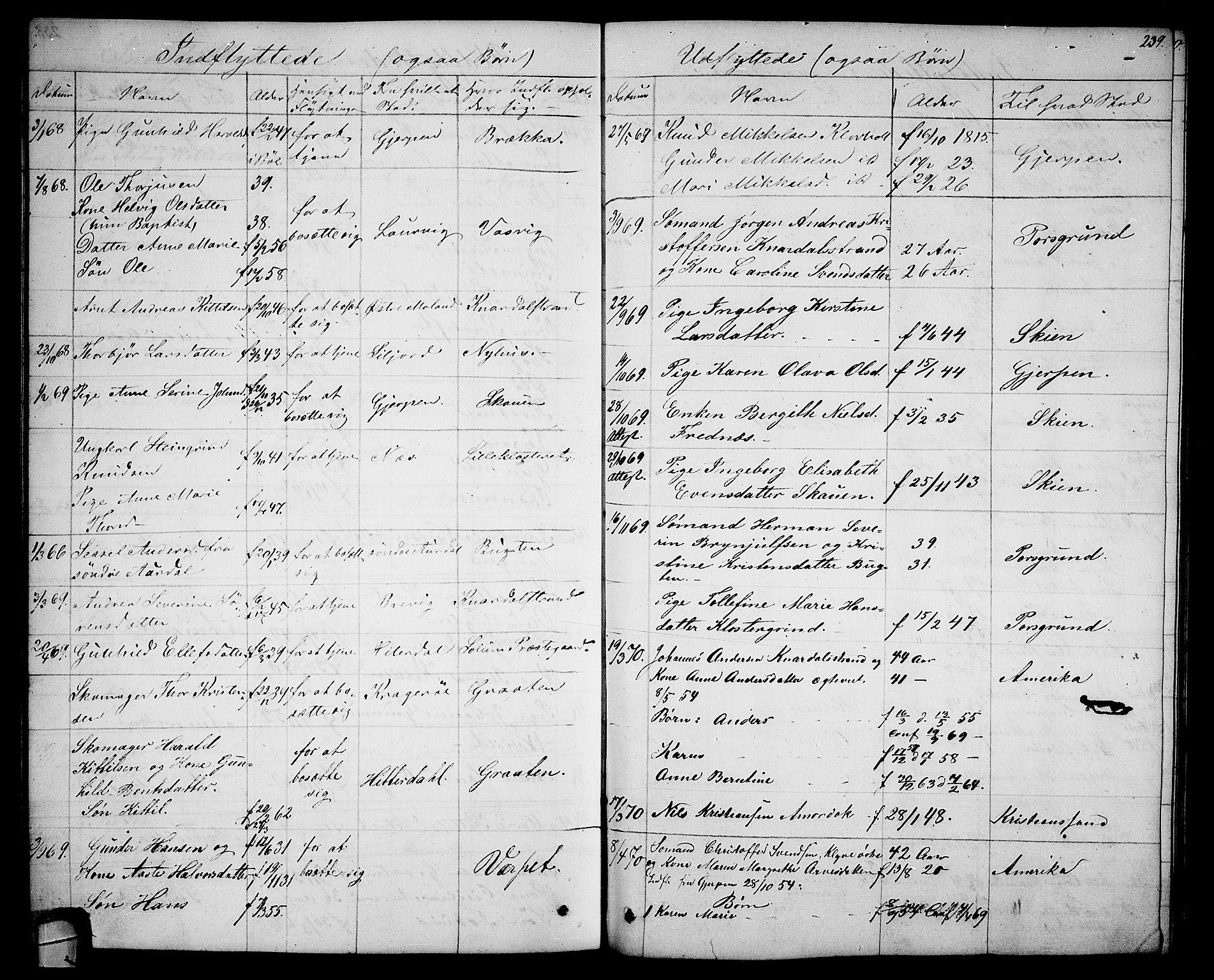 SAKO, Solum kirkebøker, G/Ga/L0004: Klokkerbok nr. I 4, 1859-1876, s. 239