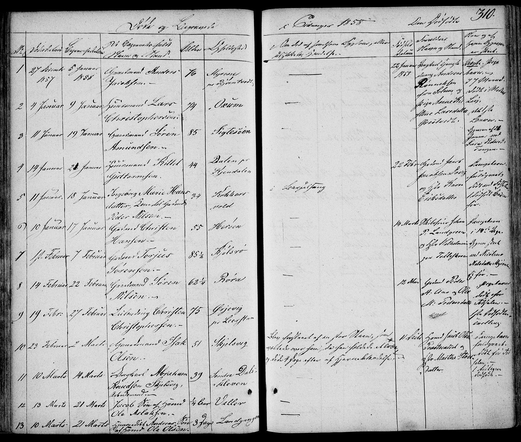 SAKO, Eidanger kirkebøker, F/Fa/L0008: Ministerialbok nr. 8, 1831-1858, s. 310
