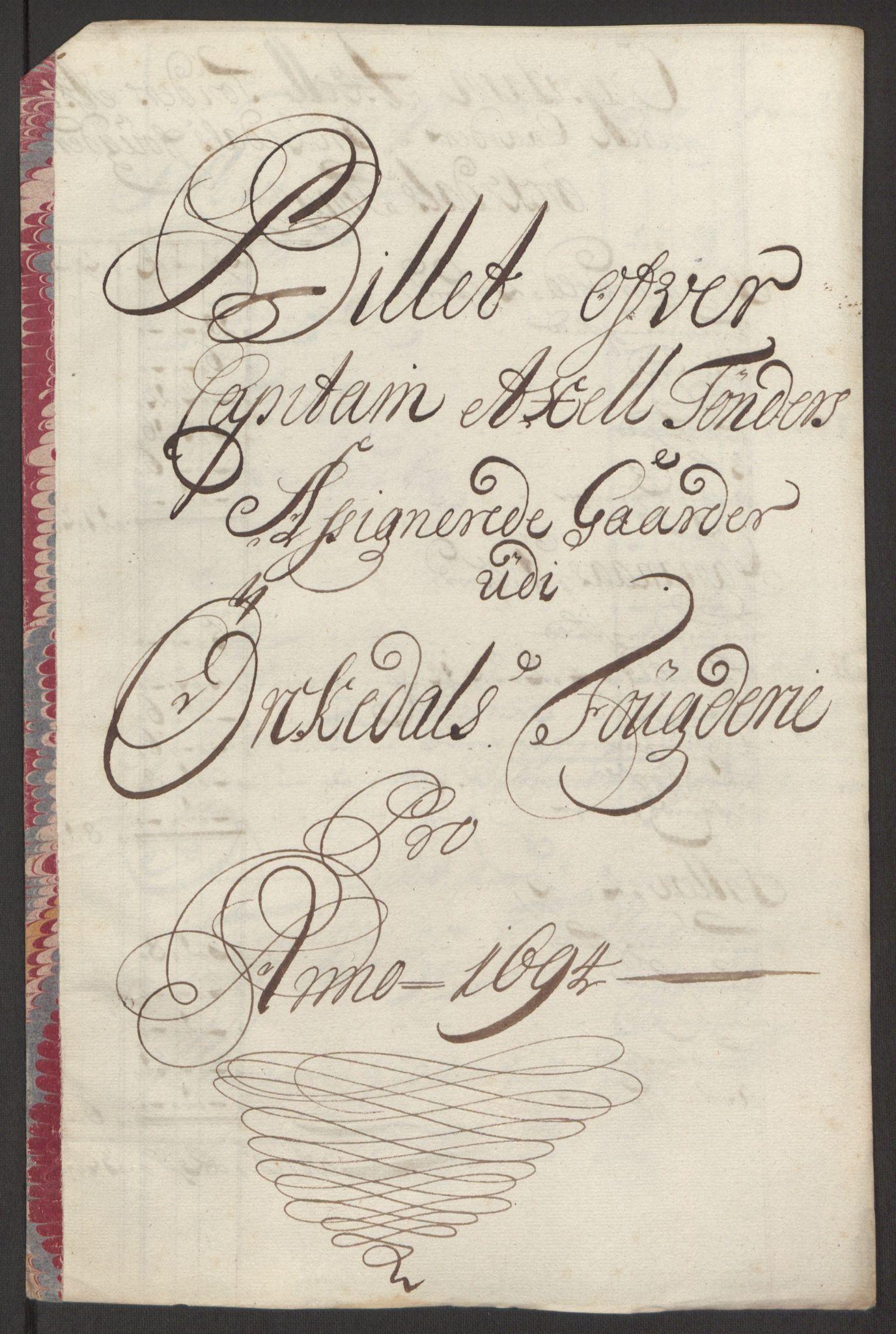 RA, Rentekammeret inntil 1814, Reviderte regnskaper, Fogderegnskap, R60/L3944: Fogderegnskap Orkdal og Gauldal, 1694, s. 186