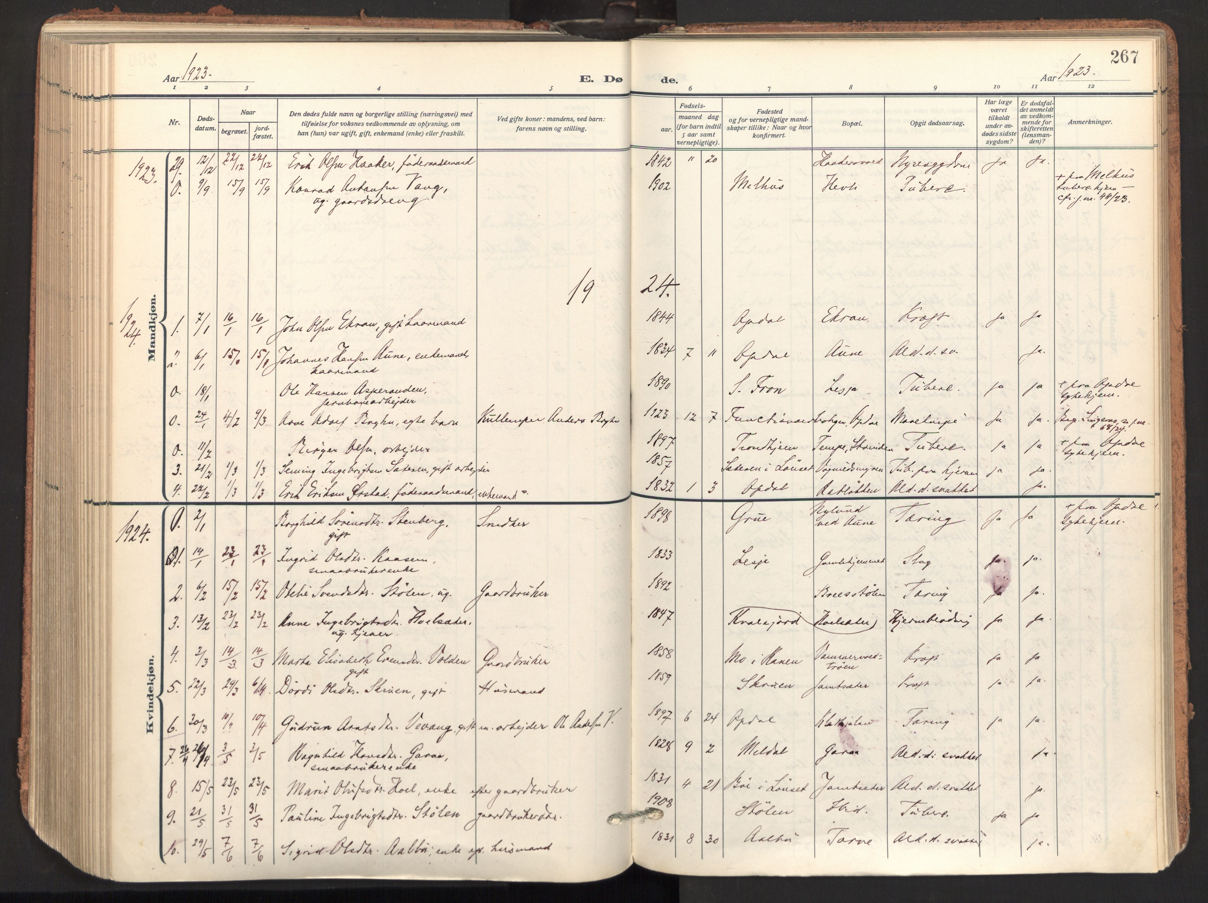 SAT, Ministerialprotokoller, klokkerbøker og fødselsregistre - Sør-Trøndelag, 678/L0909: Ministerialbok nr. 678A17, 1912-1930, s. 267
