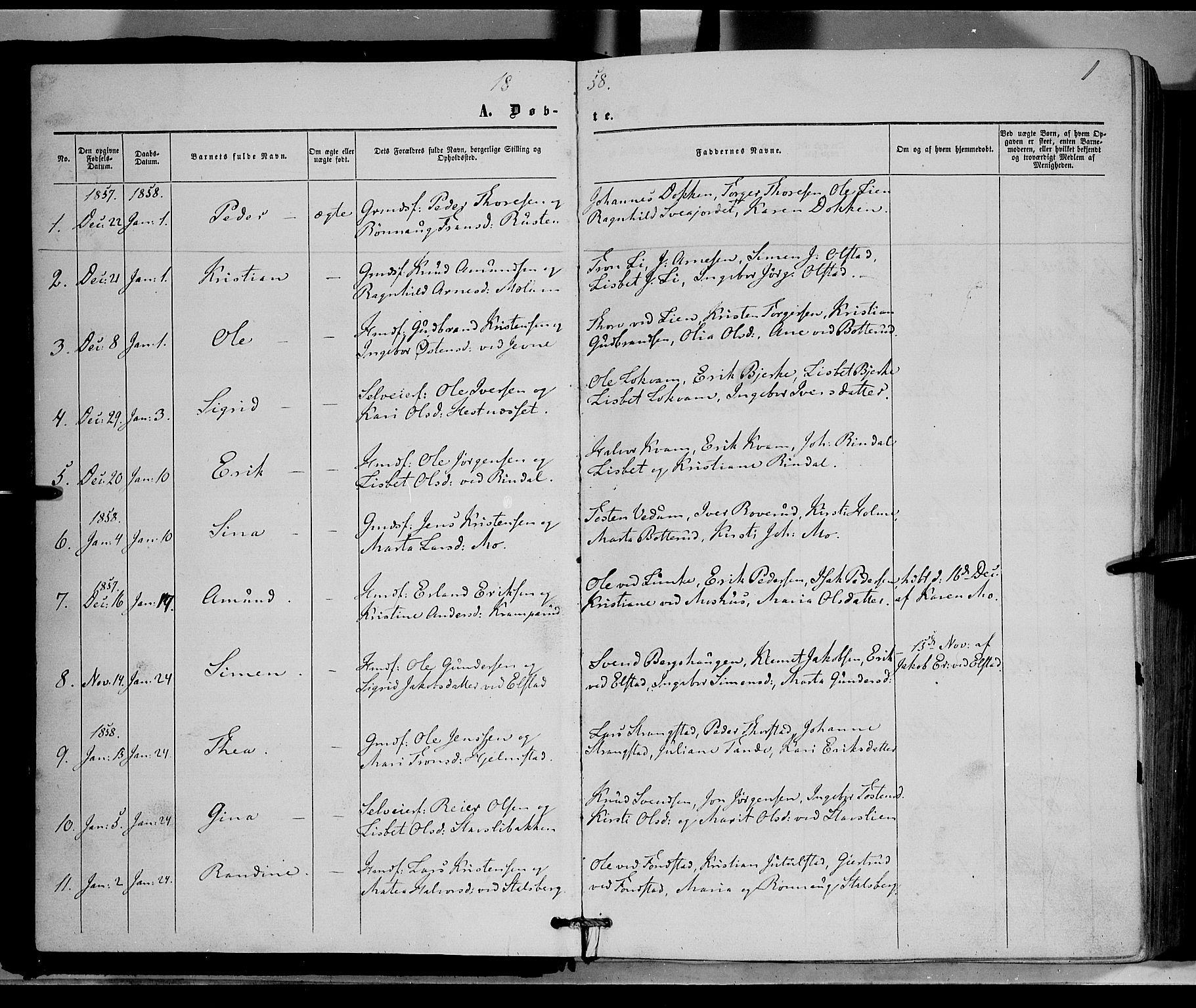 SAH, Øyer prestekontor, Ministerialbok nr. 6, 1858-1874, s. 1