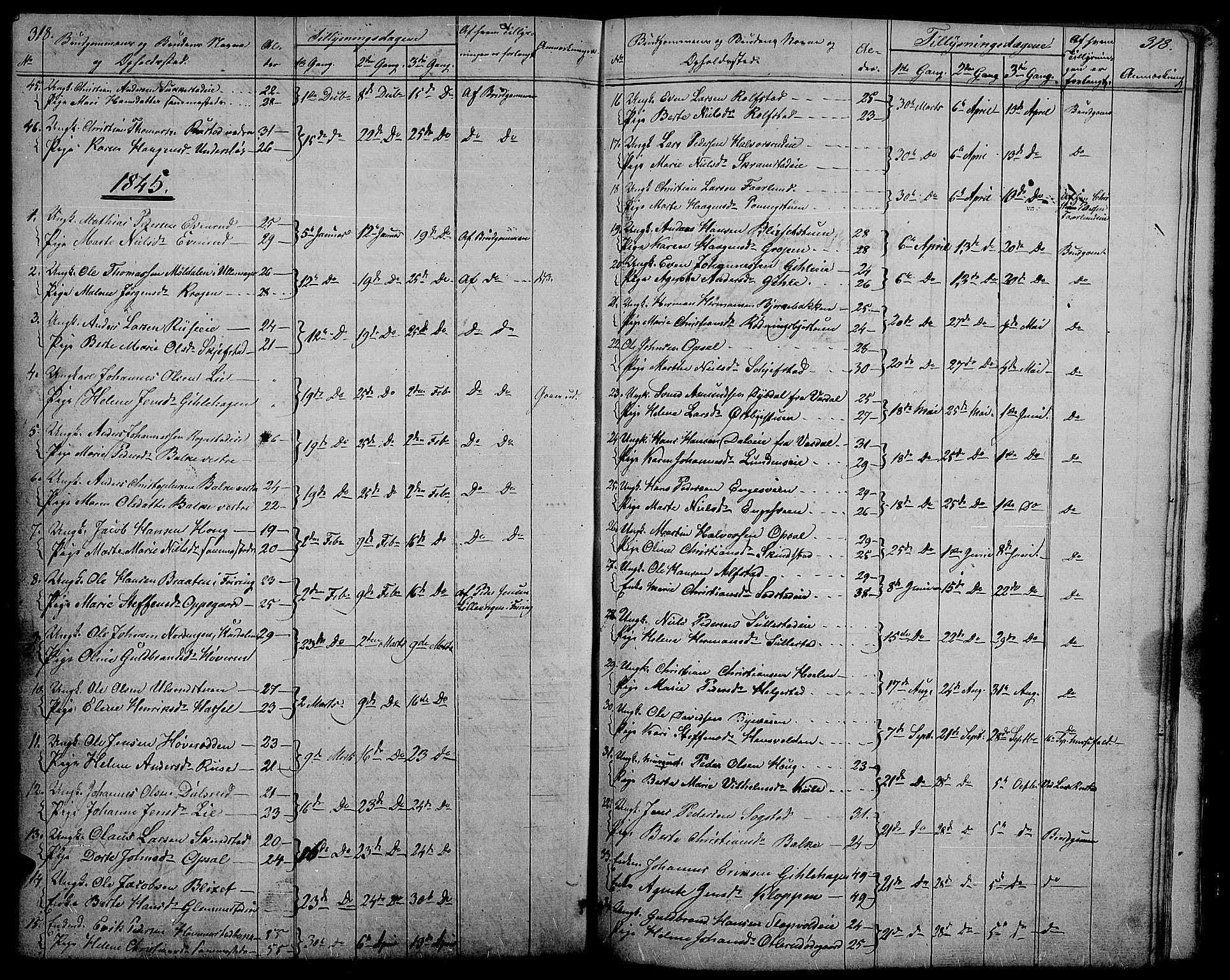 SAH, Østre Toten prestekontor, Klokkerbok nr. 2, 1840-1847, s. 318