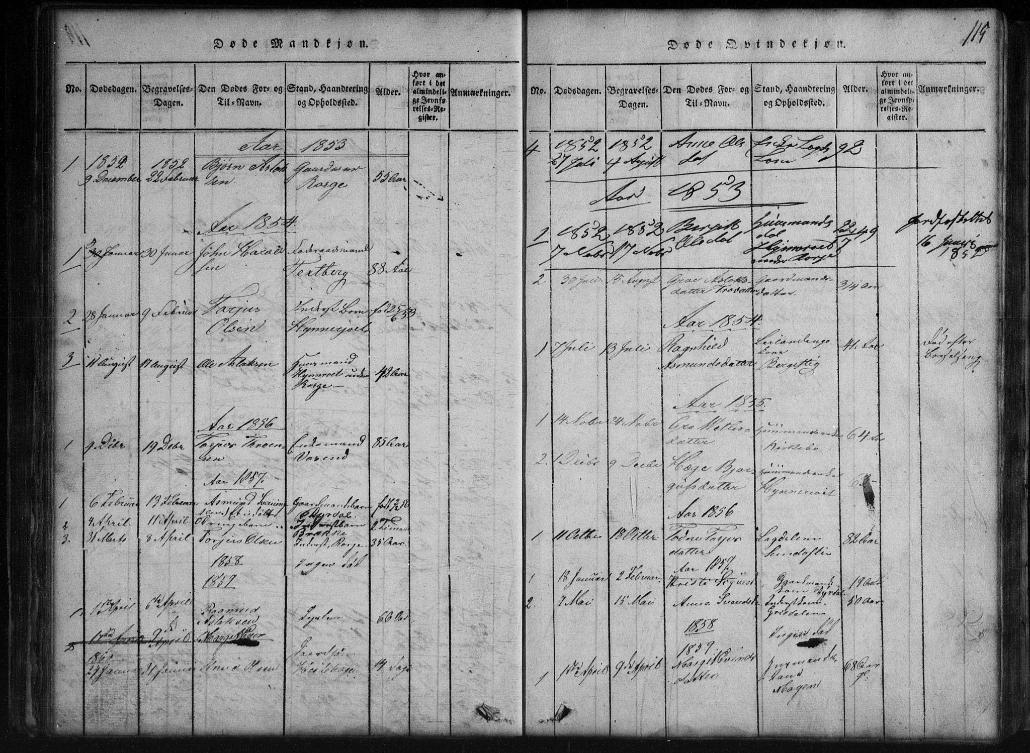 SAKO, Rauland kirkebøker, G/Gb/L0001: Klokkerbok nr. II 1, 1815-1886, s. 115
