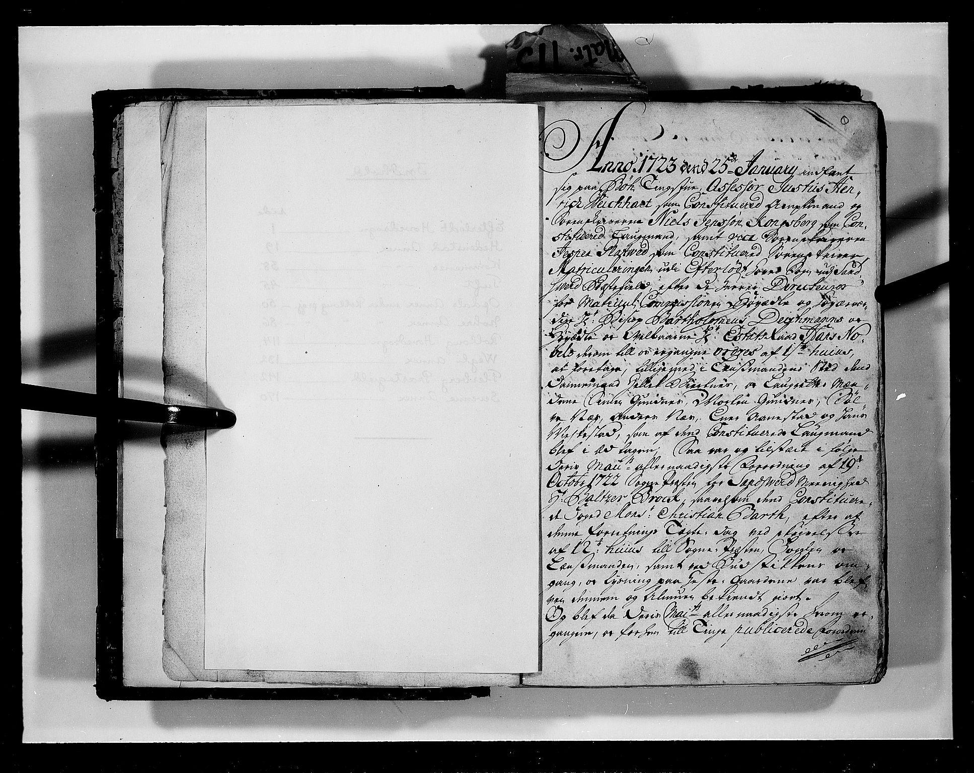 RA, Rentekammeret inntil 1814, Realistisk ordnet avdeling, N/Nb/Nbf/L0113: Numedal og Sandsvær eksaminasjonsprotokoll, 1723, s. 1a