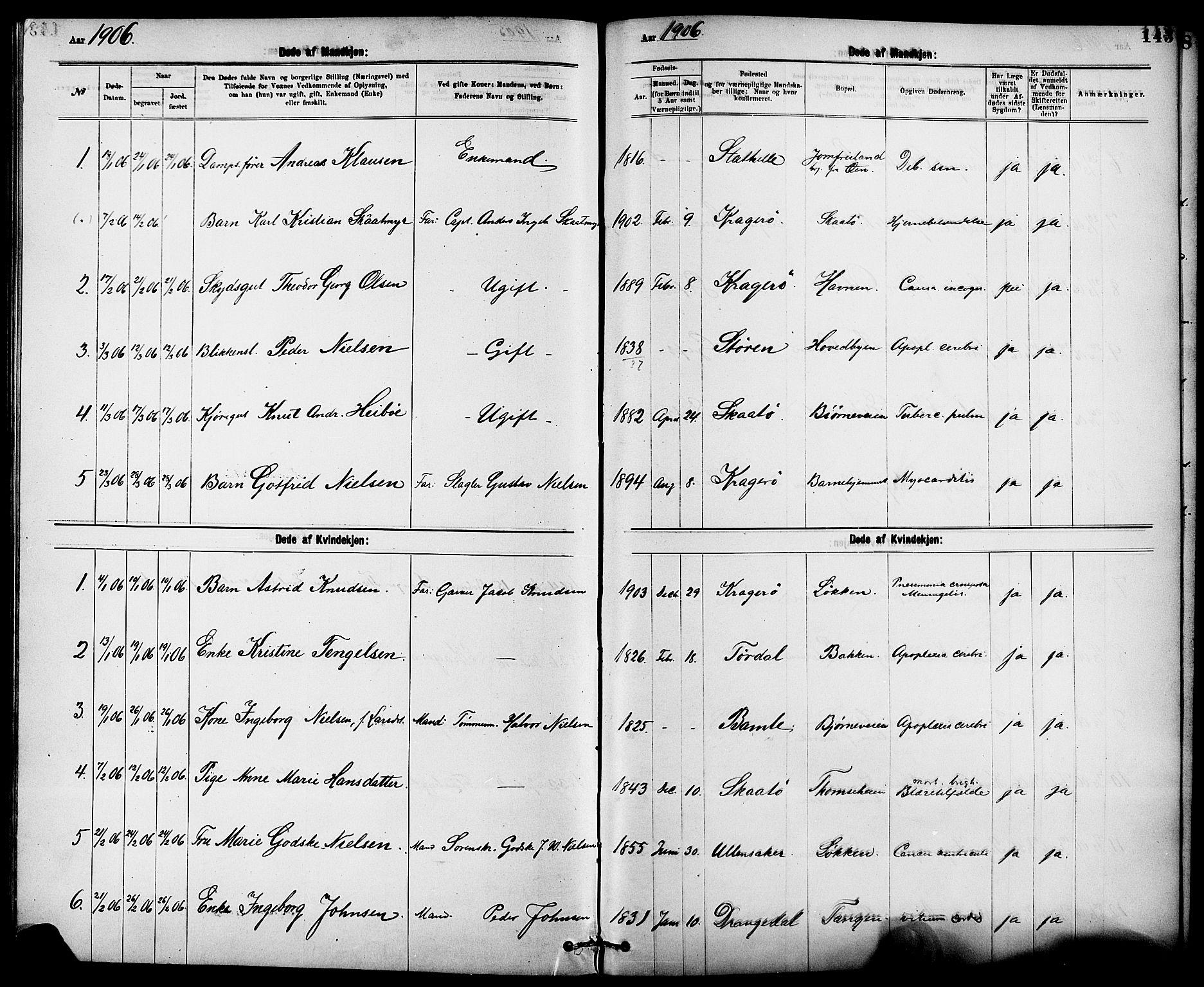SAKO, Kragerø kirkebøker, G/Ga/L0008: Klokkerbok nr. 8, 1881-1914, s. 143