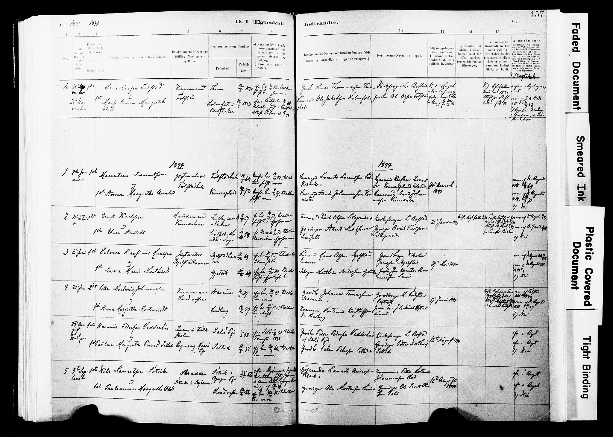SAT, Ministerialprotokoller, klokkerbøker og fødselsregistre - Nord-Trøndelag, 744/L0420: Ministerialbok nr. 744A04, 1882-1904, s. 157
