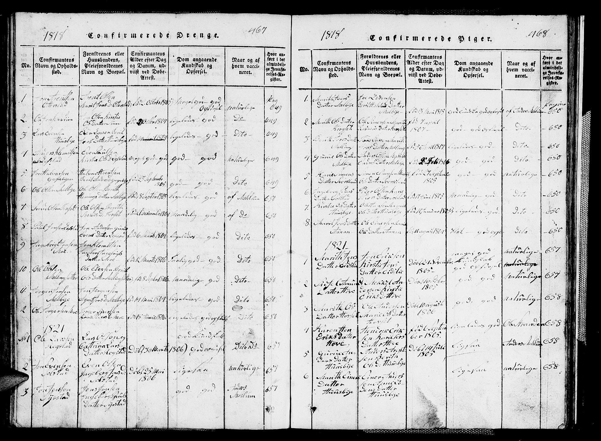 SAT, Ministerialprotokoller, klokkerbøker og fødselsregistre - Sør-Trøndelag, 667/L0796: Klokkerbok nr. 667C01, 1817-1836, s. 467-468