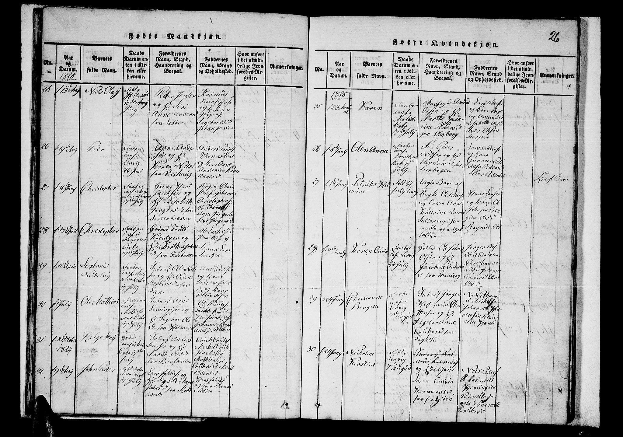 SATØ, Lenvik sokneprestembete, H/Ha: Klokkerbok nr. 1, 1822-1837, s. 26