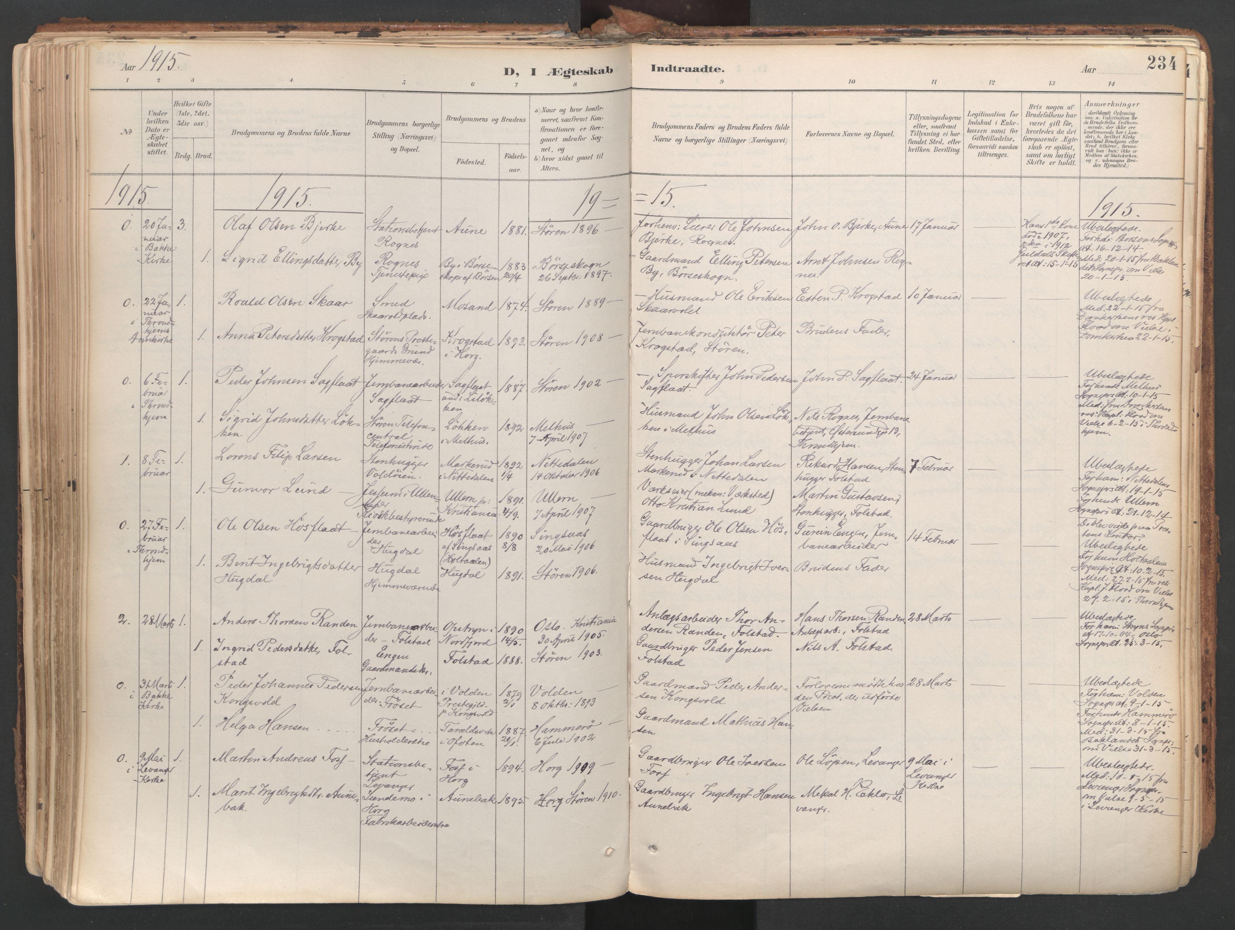 SAT, Ministerialprotokoller, klokkerbøker og fødselsregistre - Sør-Trøndelag, 687/L1004: Ministerialbok nr. 687A10, 1891-1923, s. 234