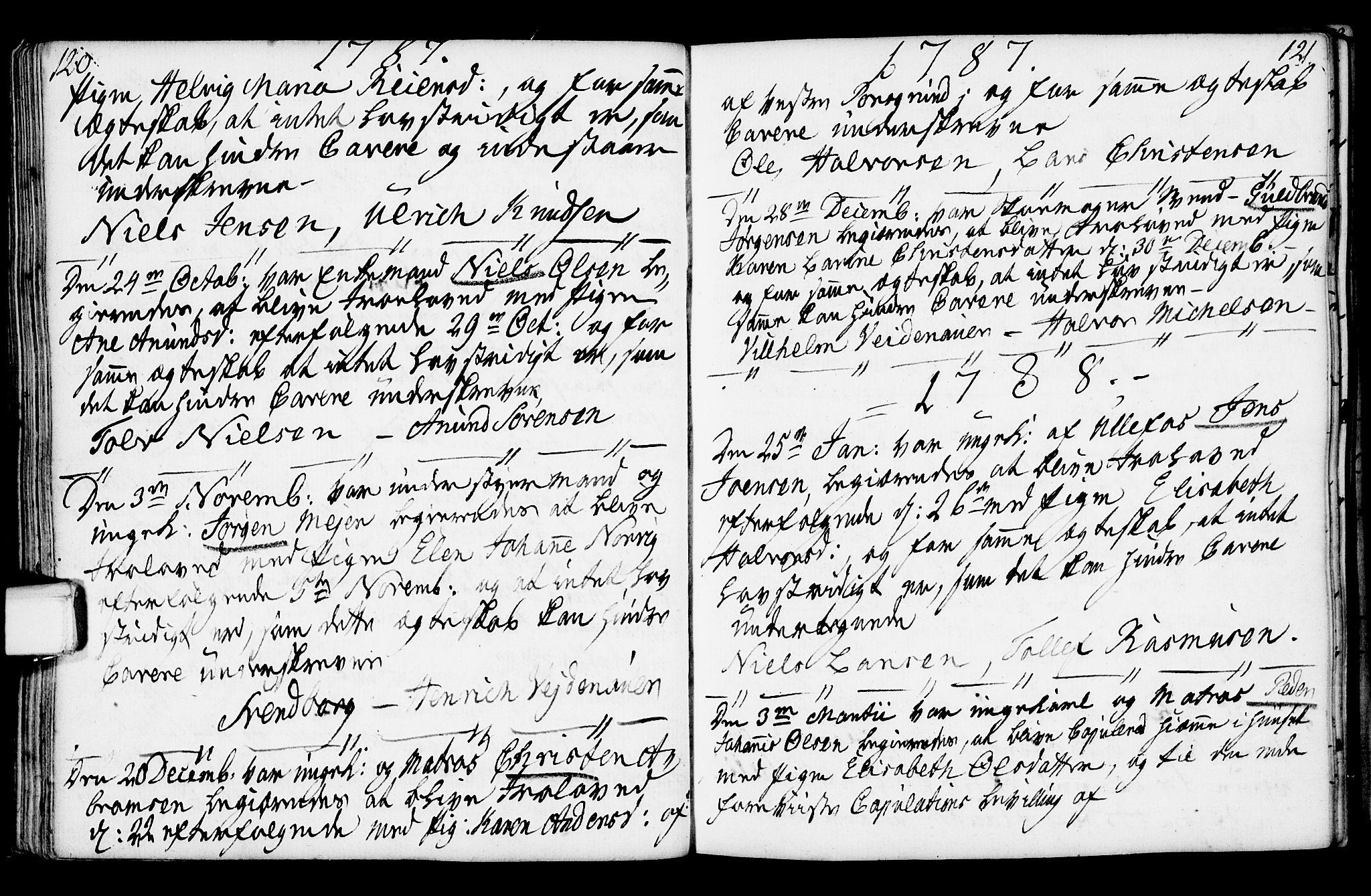SAKO, Porsgrunn kirkebøker , F/Fa/L0003: Ministerialbok nr. 3, 1764-1814, s. 120-121