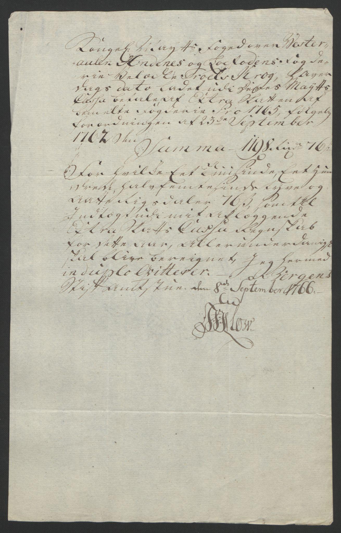 RA, Rentekammeret inntil 1814, Reviderte regnskaper, Fogderegnskap, R67/L4747: Ekstraskatten Vesterålen, Andenes og Lofoten, 1762-1766, s. 493